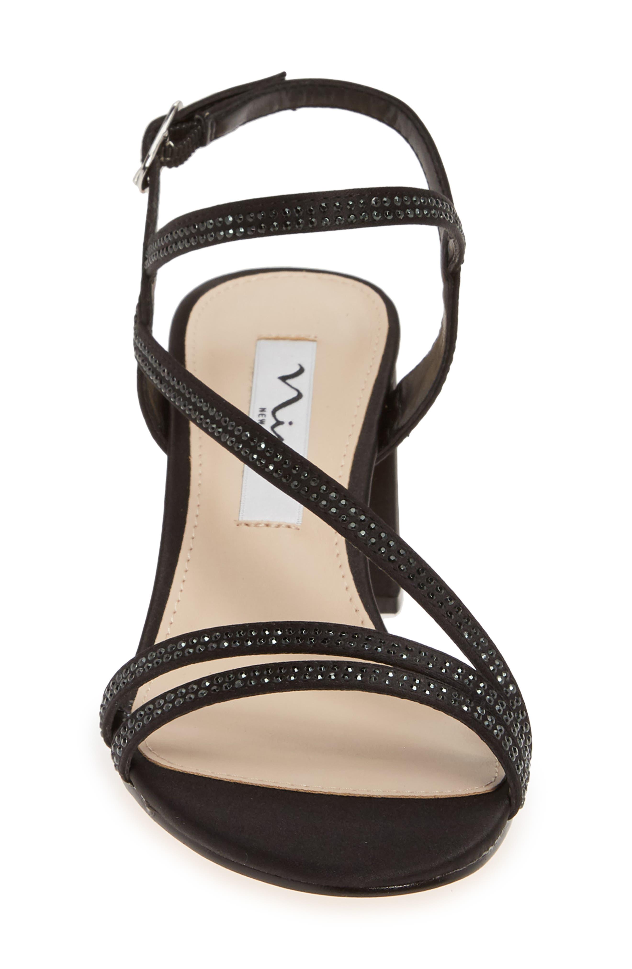 NINA, Naura Block Heel Sandal, Alternate thumbnail 4, color, BLACK SATIN