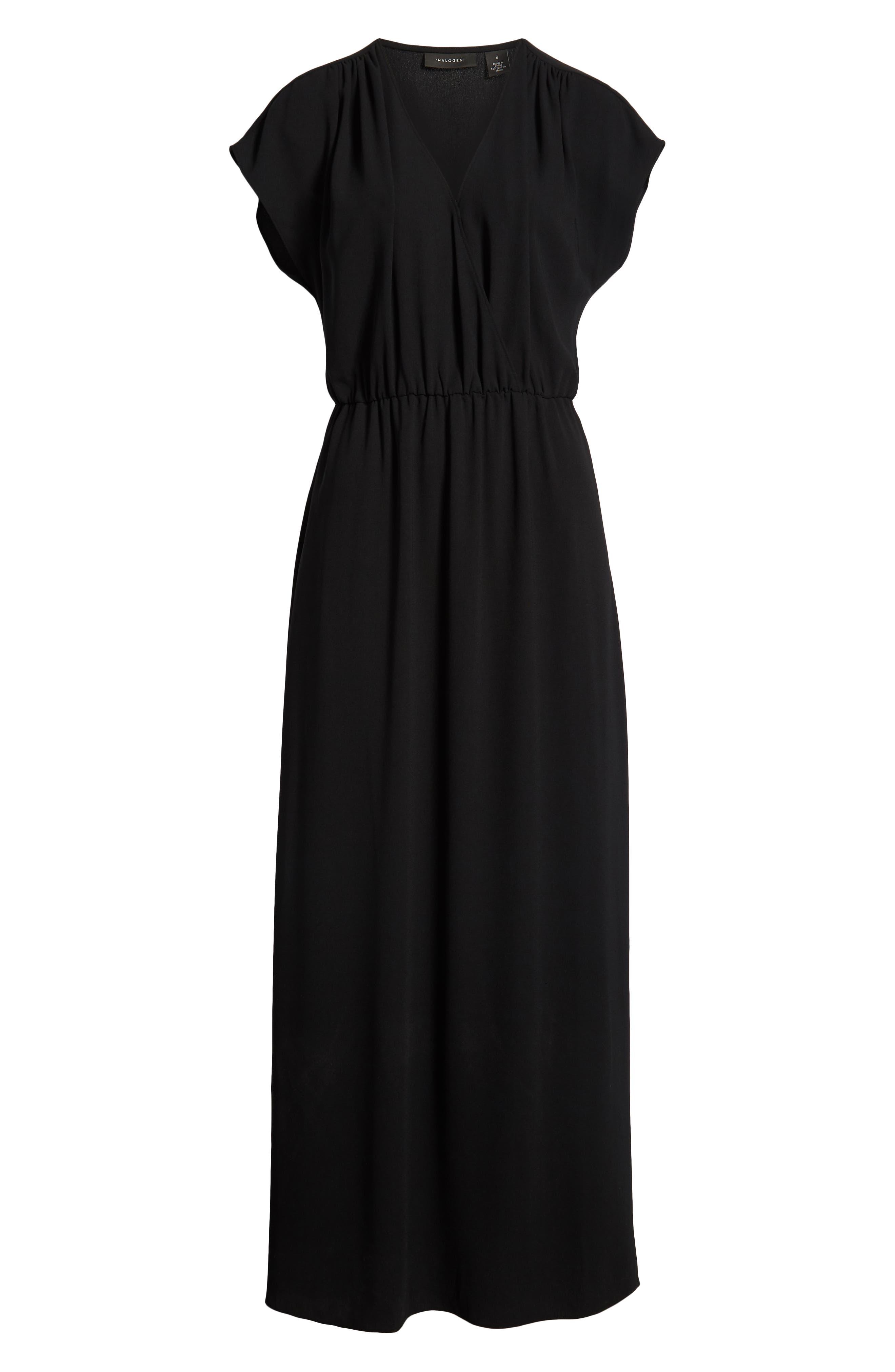 HALOGEN<SUP>®</SUP>, V-Neck Maxi Dress, Alternate thumbnail 7, color, BLACK