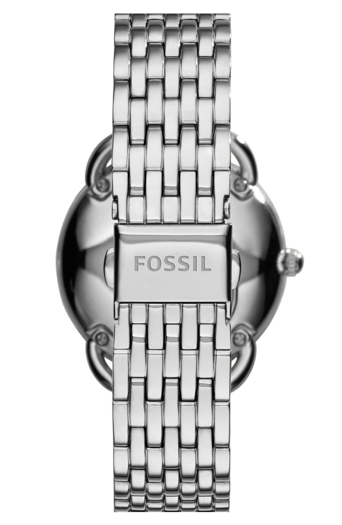 FOSSIL, 'Tailor' Multifunction Bracelet Watch, 16mm, Alternate thumbnail 3, color, SILVER