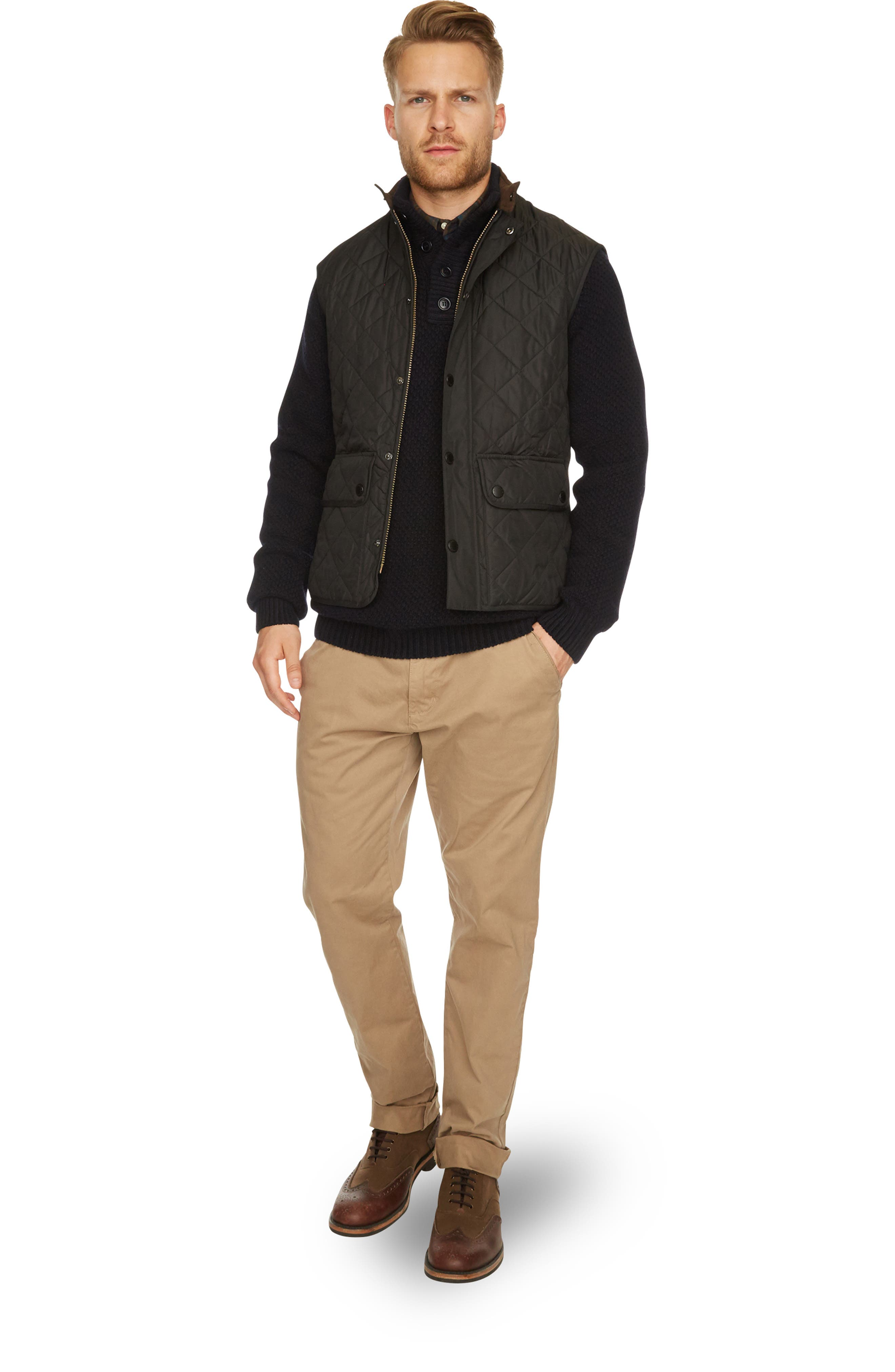 BARBOUR, Lowerdale Quilted Vest, Alternate thumbnail 4, color, 001