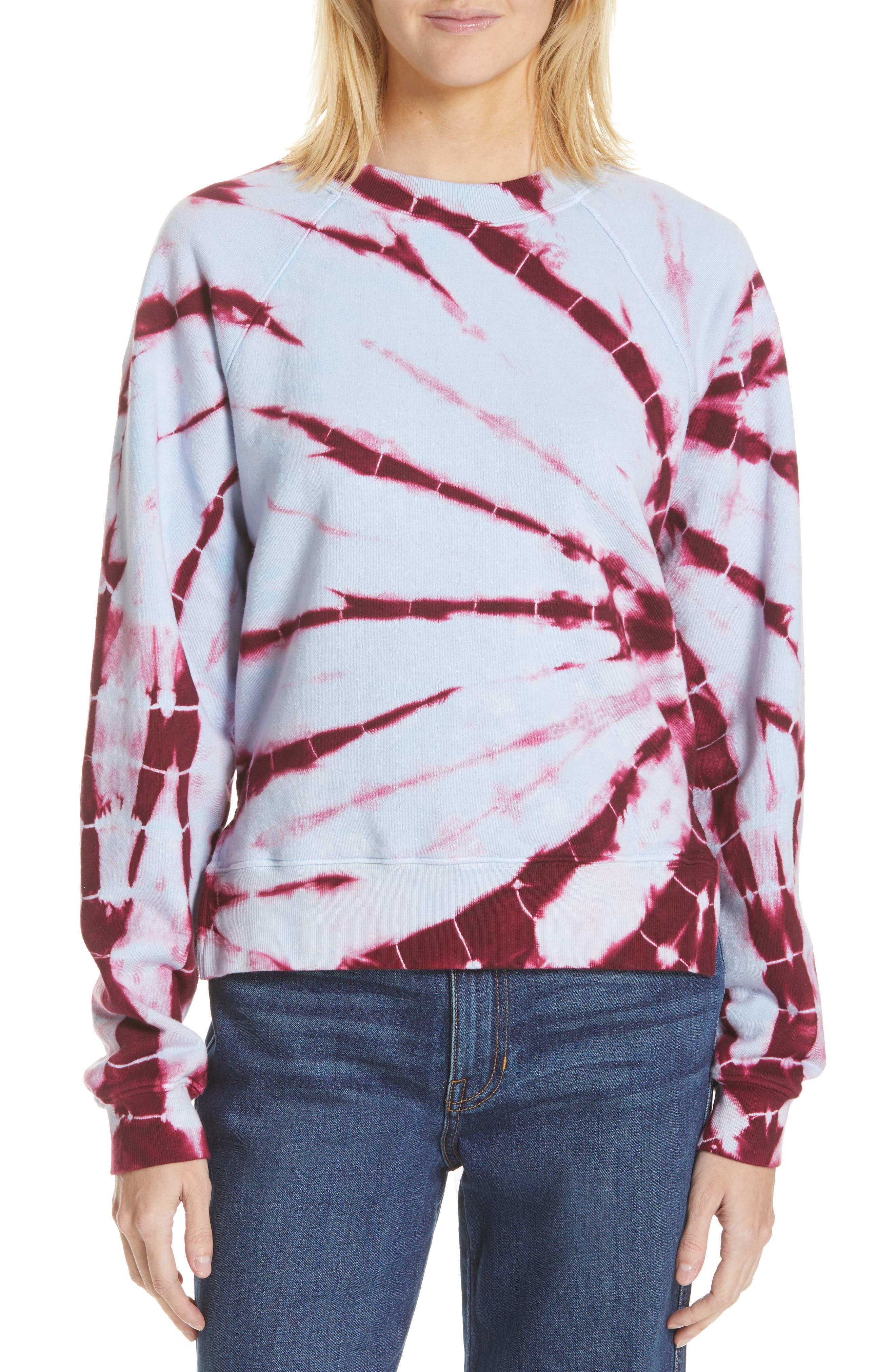 PROENZA SCHOULER, PSWL Tie Dye Sweatshirt, Main thumbnail 1, color, BABY BLUE/ RED TIE DYE