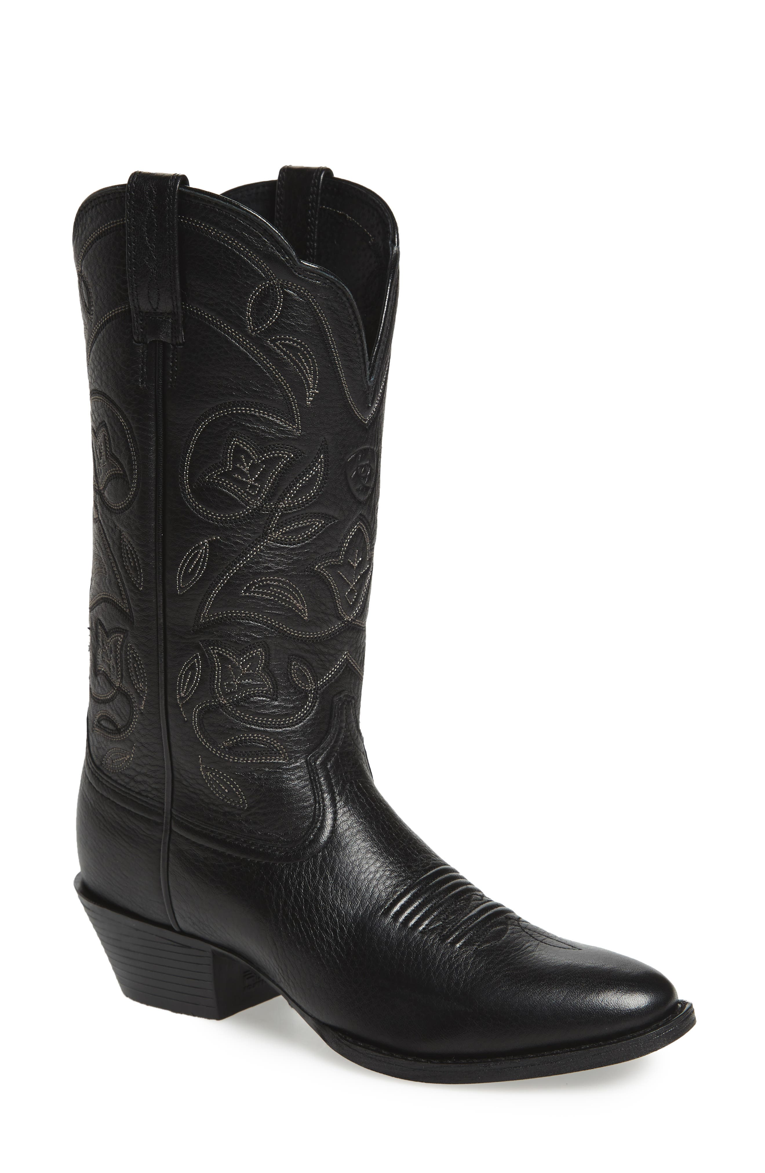 ARIAT, Heritage Western R-Toe Boot, Main thumbnail 1, color, BLACK LEATHER