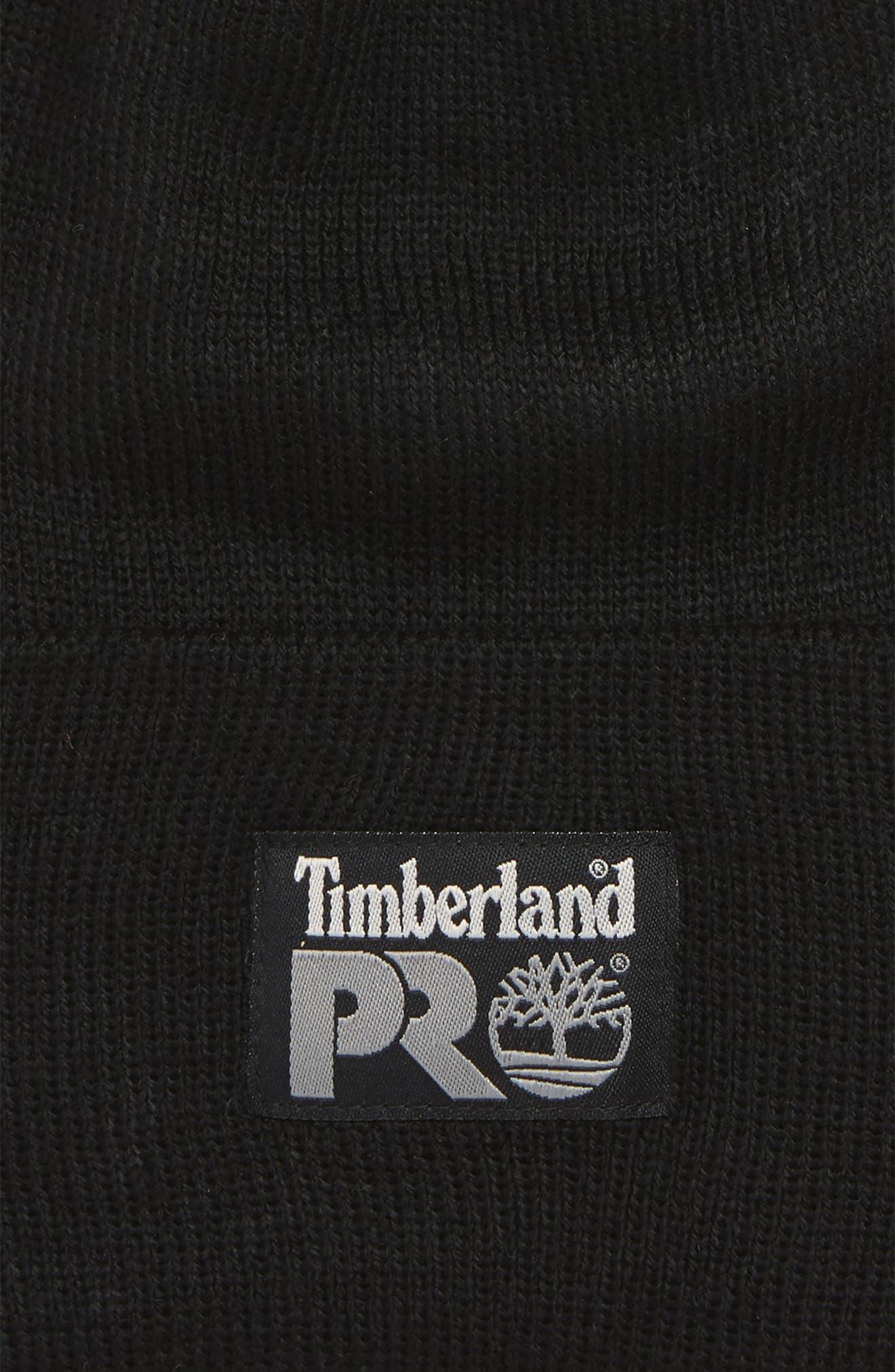 TIMBERLAND, Pro Logo Patch Beanie, Alternate thumbnail 2, color, BLACK