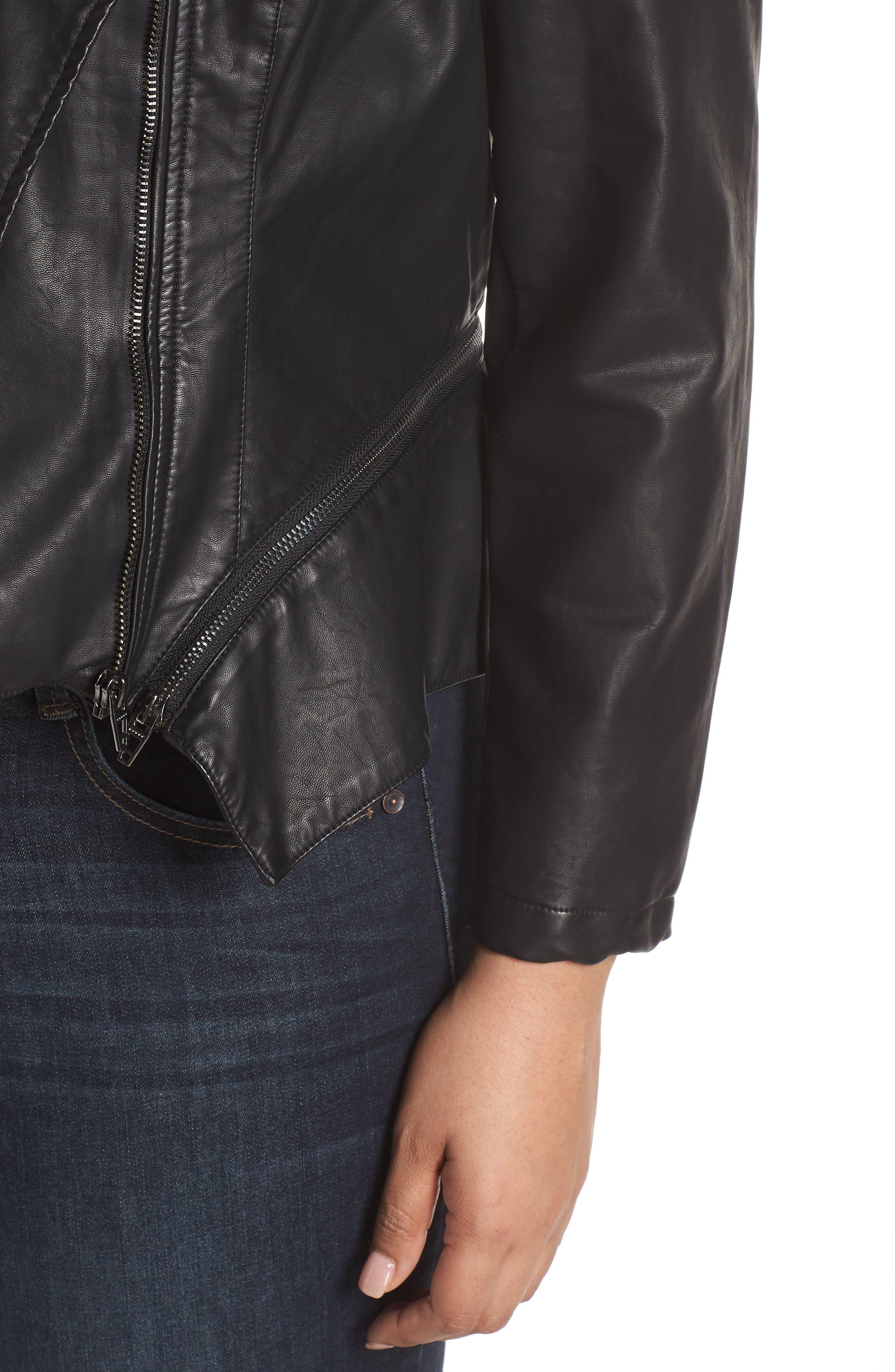 BLANKNYC, Faux Leather Moto Jacket, Alternate thumbnail 11, color, BLACK