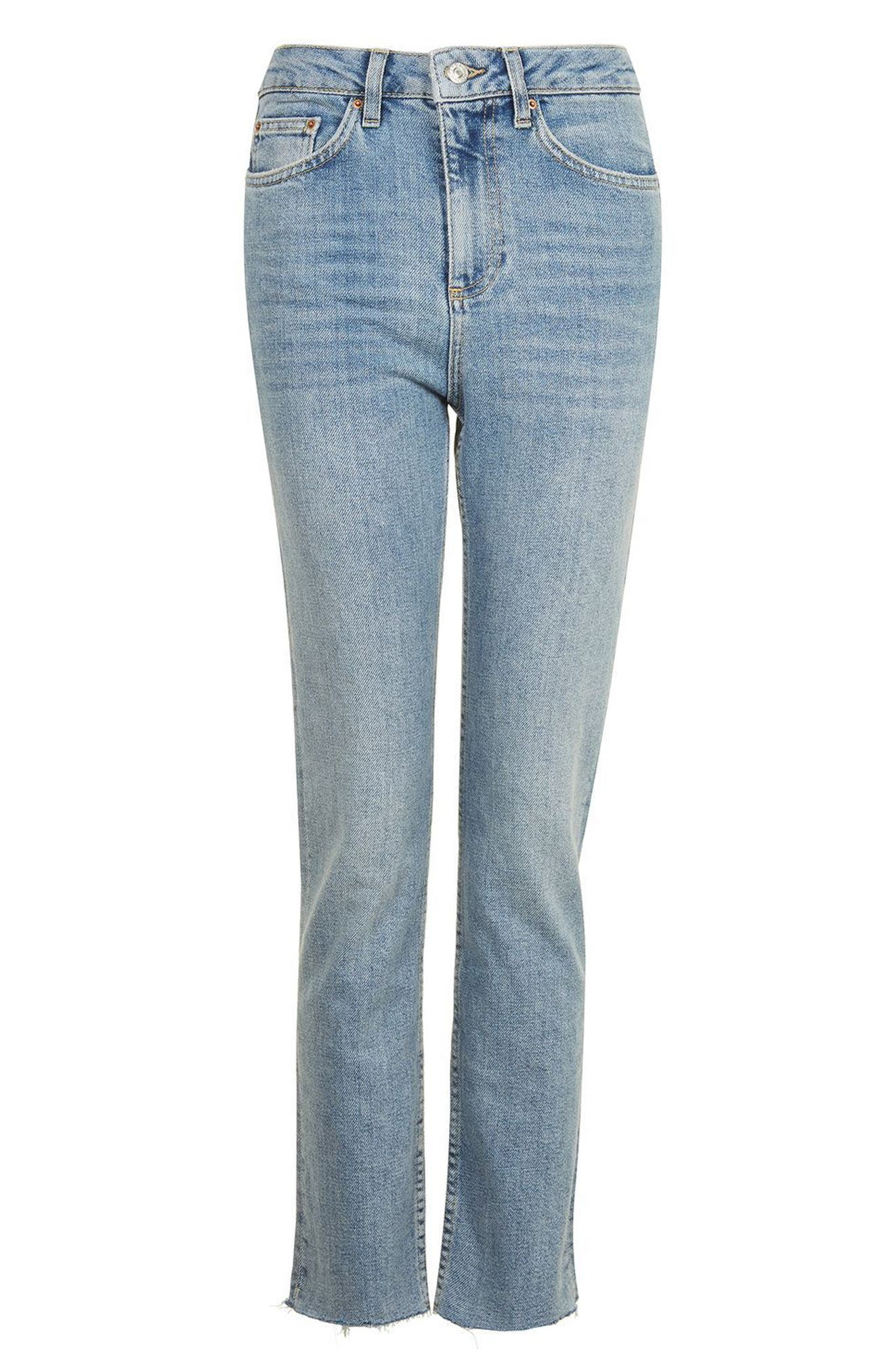 TOPSHOP, Moto Raw Hem Straight Leg Jeans, Alternate thumbnail 4, color, 420