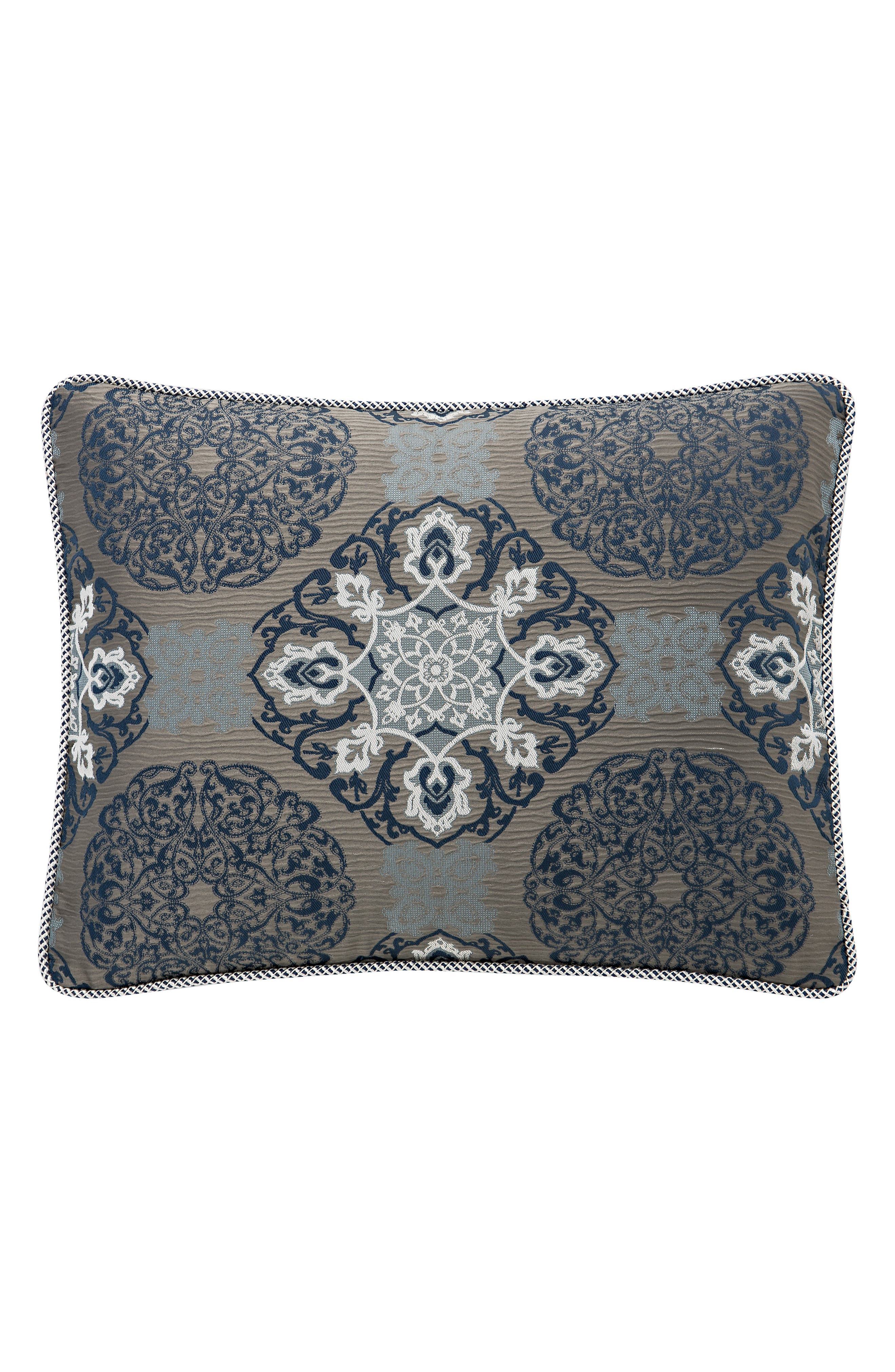 WATERFORD, Jonet Reversible Comforter, Sham & Bedskirt Set, Alternate thumbnail 6, color, INDIGO