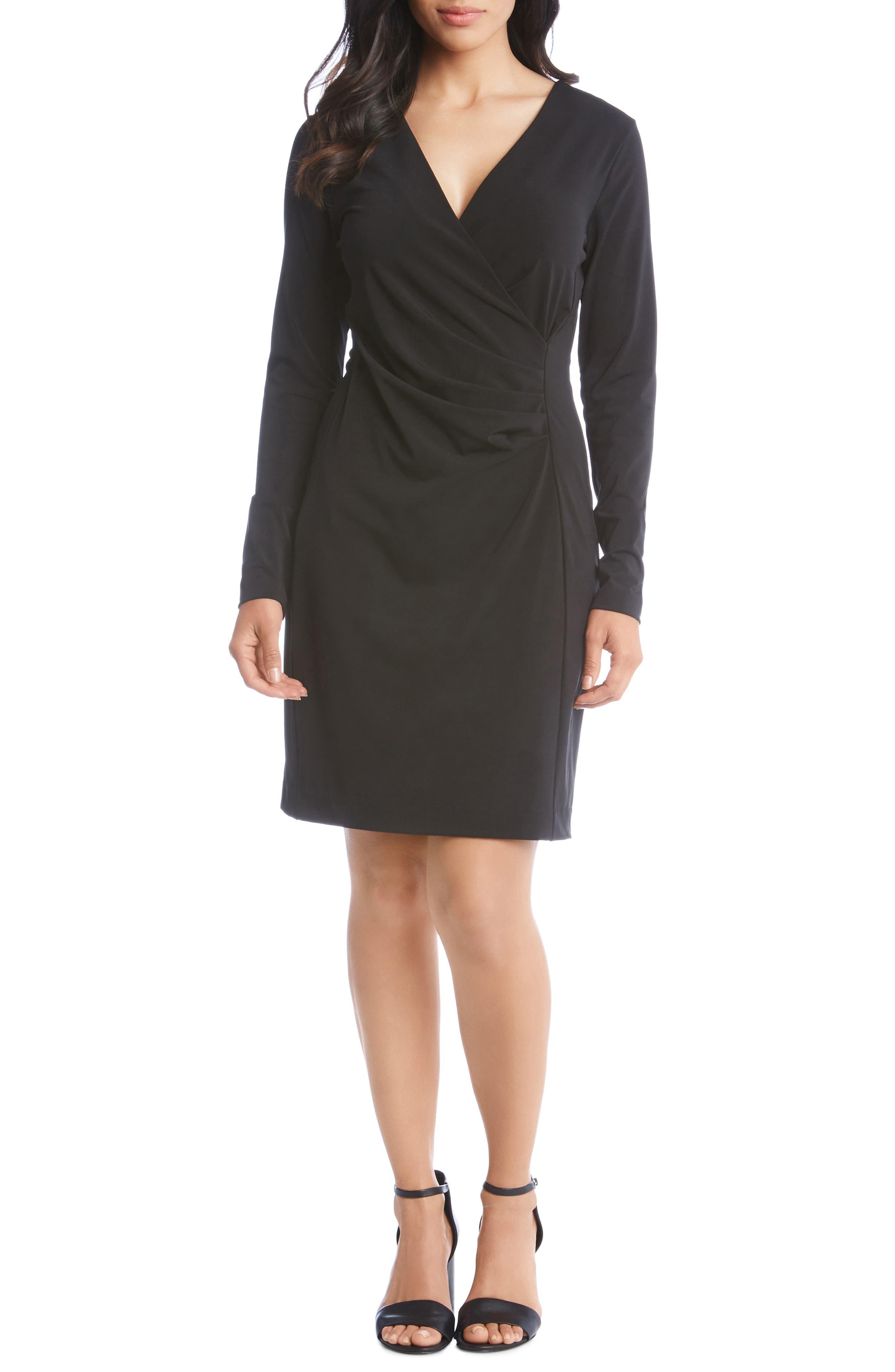 KAREN KANE, Faux Wrap Dress, Main thumbnail 1, color, BLACK