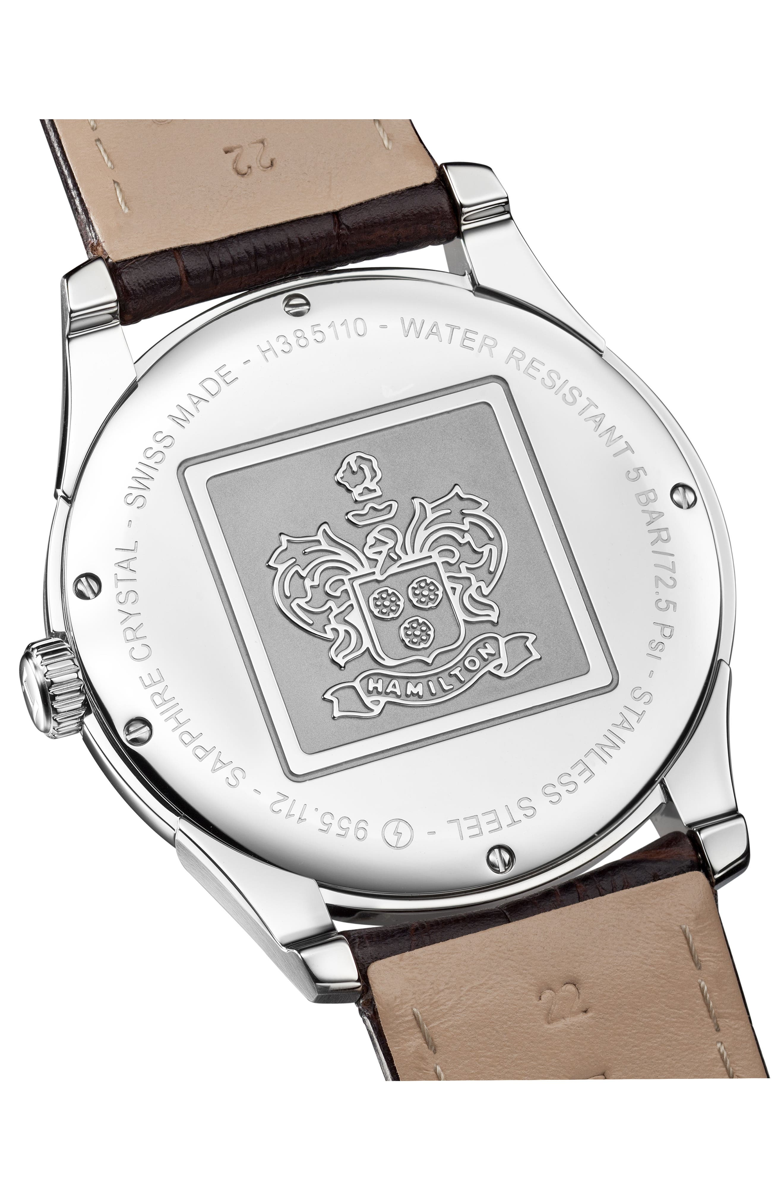HAMILTON, Jazzmaster Thinline Leather Strap Watch, 42mm, Alternate thumbnail 2, color, BROWN/ SILVER