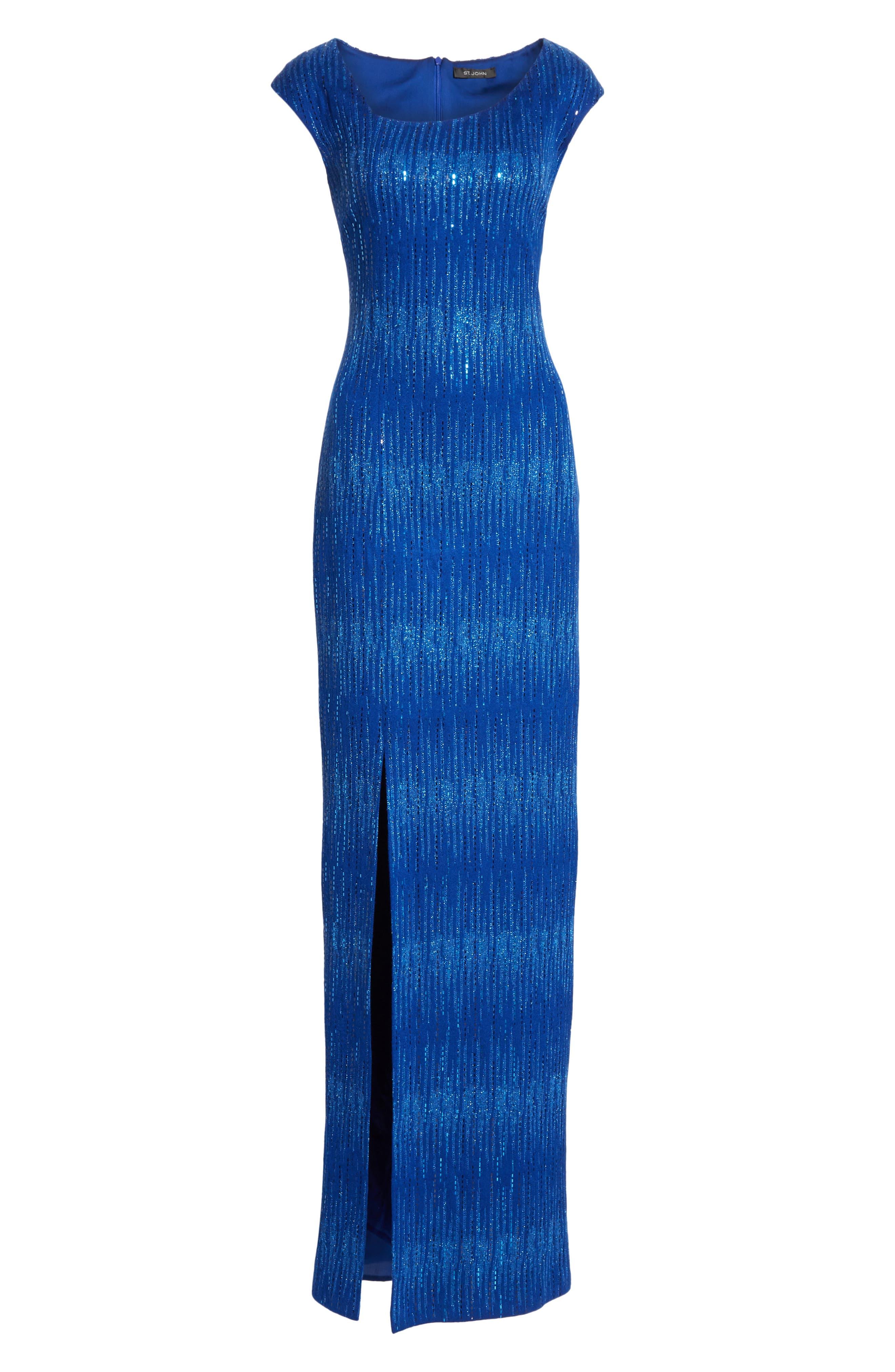 ST. JOHN COLLECTION, Asymmetrical Neck Carrie Knit Evening Dress, Alternate thumbnail 6, color, AZUL