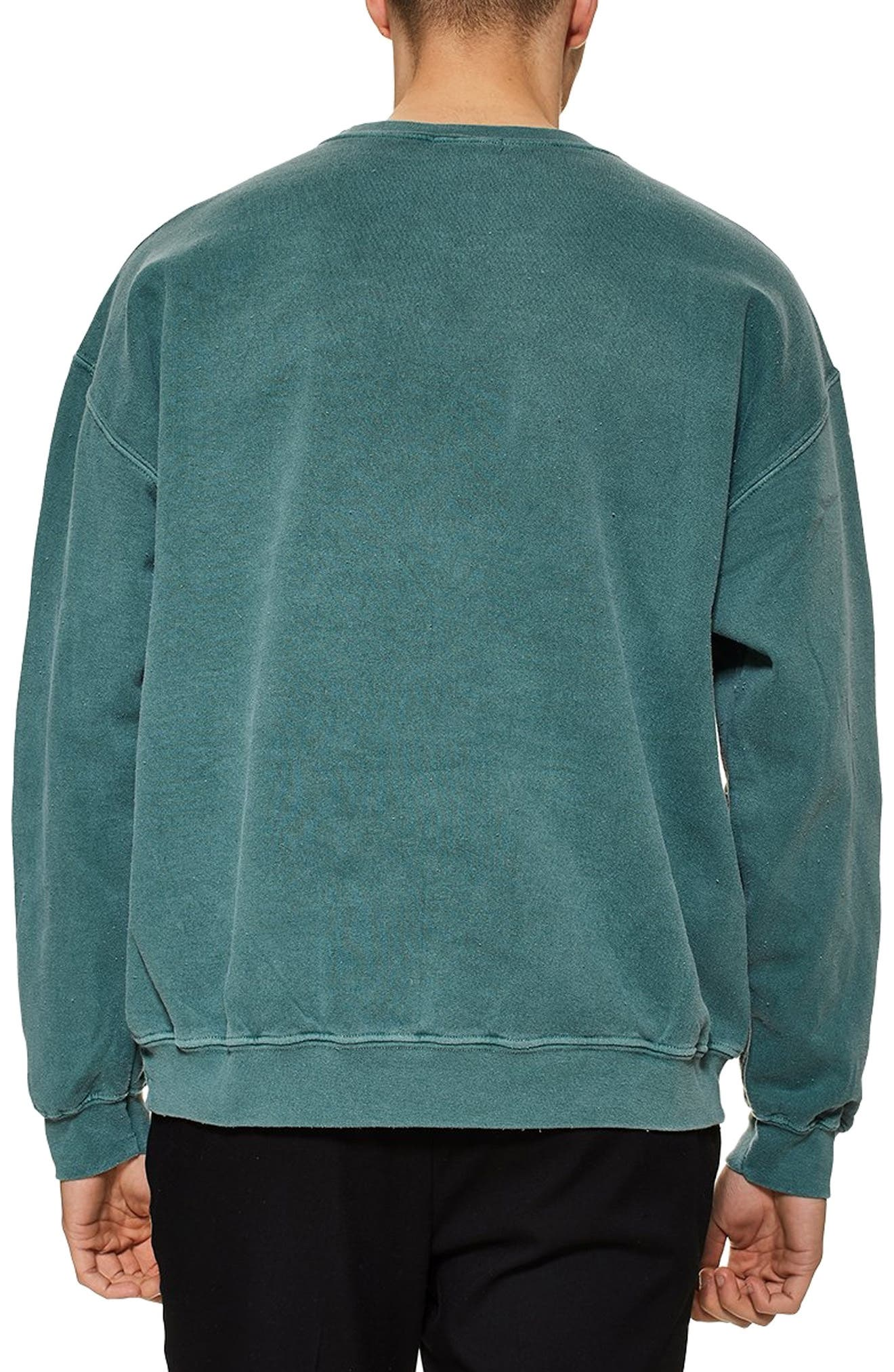 TOPMAN, Santa Monica Oversize Sweatshirt, Alternate thumbnail 2, color, GREEN