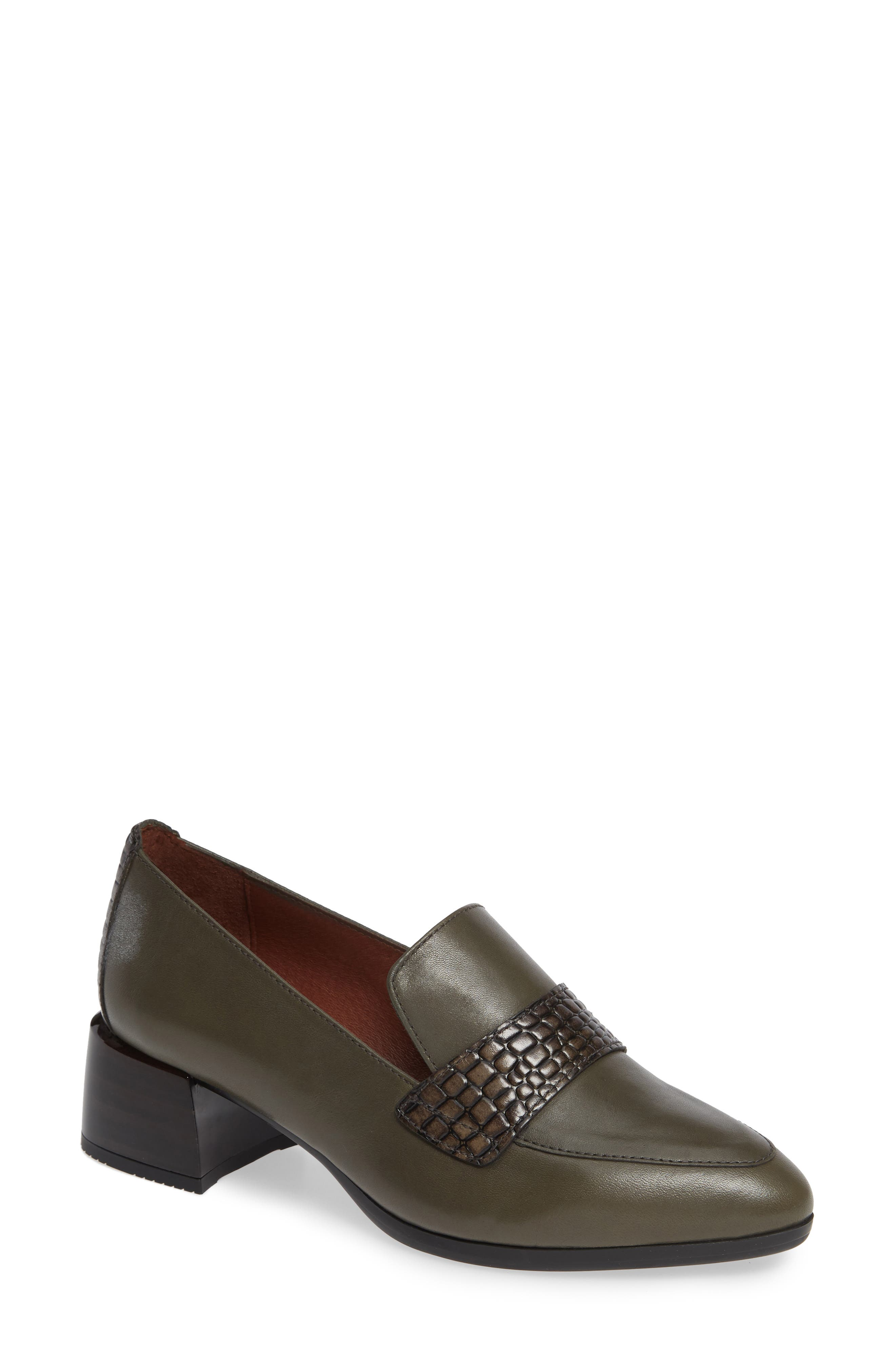 HISPANITAS, Gabrianna Block Heel Loafer, Main thumbnail 1, color, SOHO ARMY/ CAIMAN ARMY LEATHER
