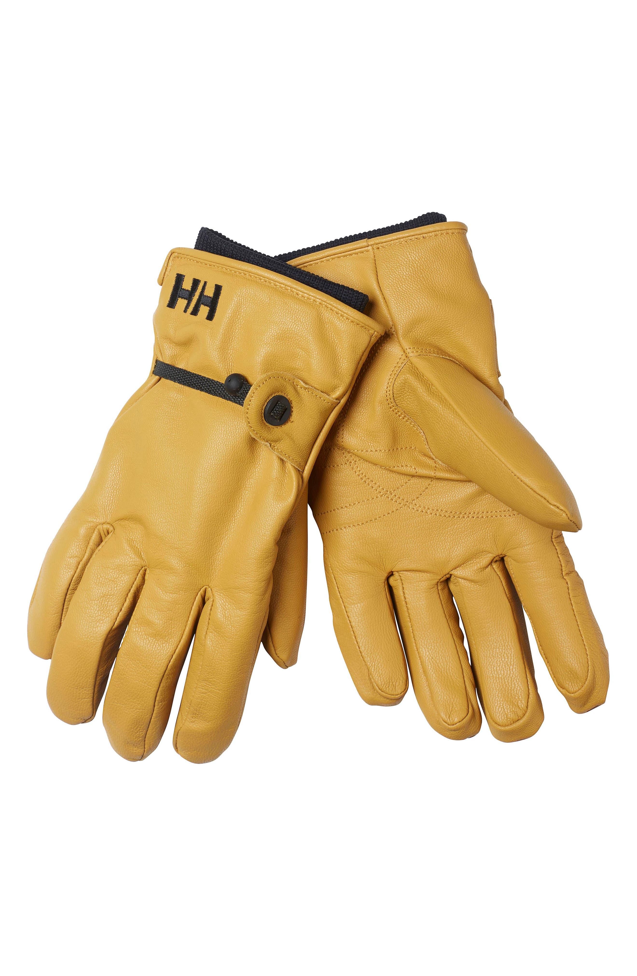HELLY HANSEN, Vor Leather Gloves, Main thumbnail 1, color, WHEAT
