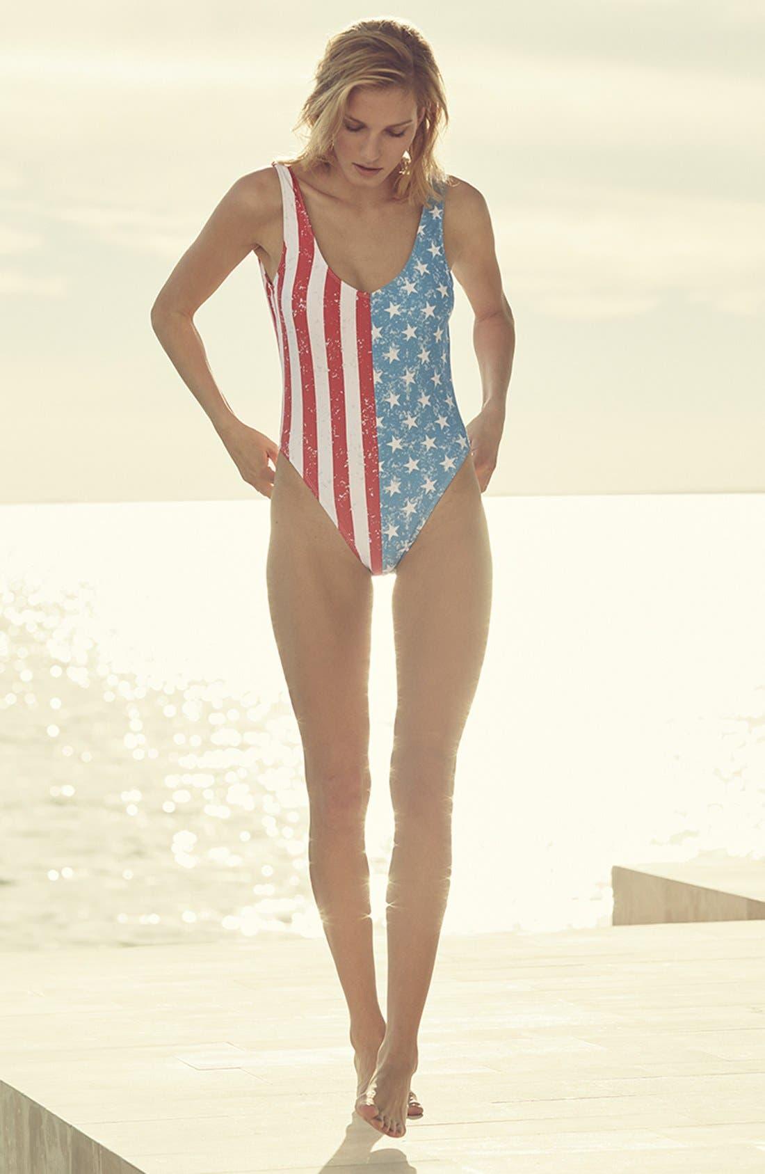 THE BIKINI LAB, 'American Flag - Stars & Stripes' One-Piece Swimsuit, Alternate thumbnail 6, color, 400