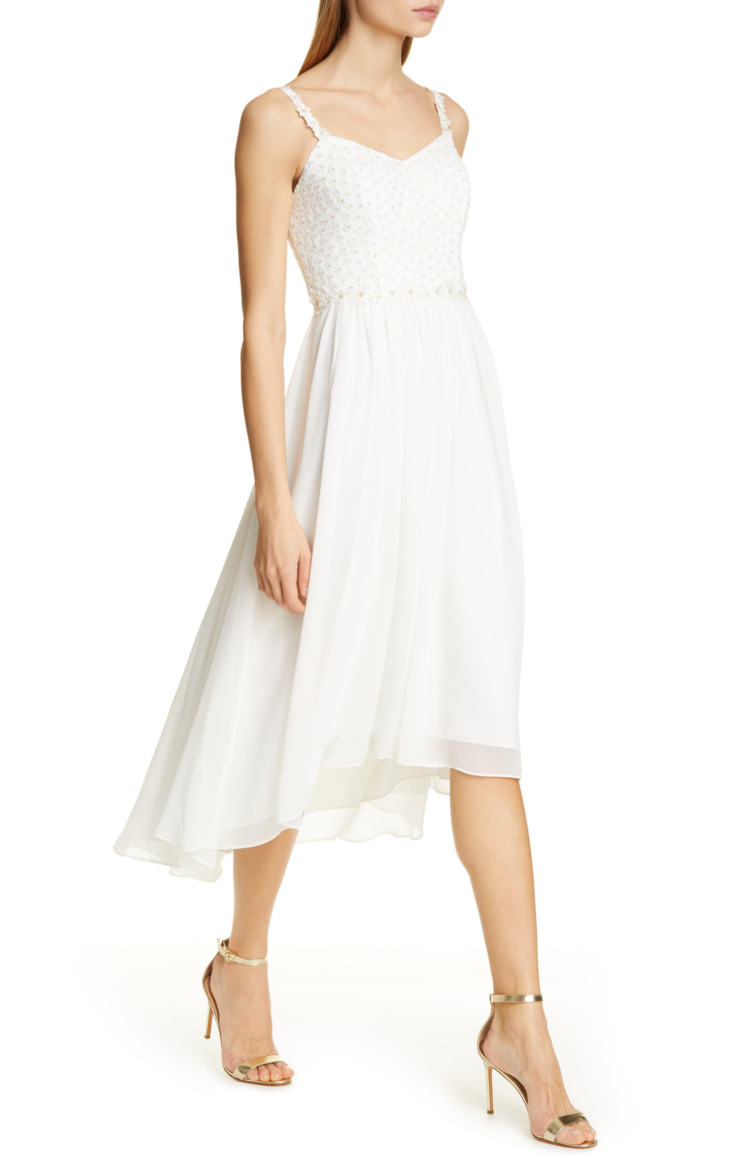 Ted Baker London Rosemry Daisy Dip Hem Dress, White