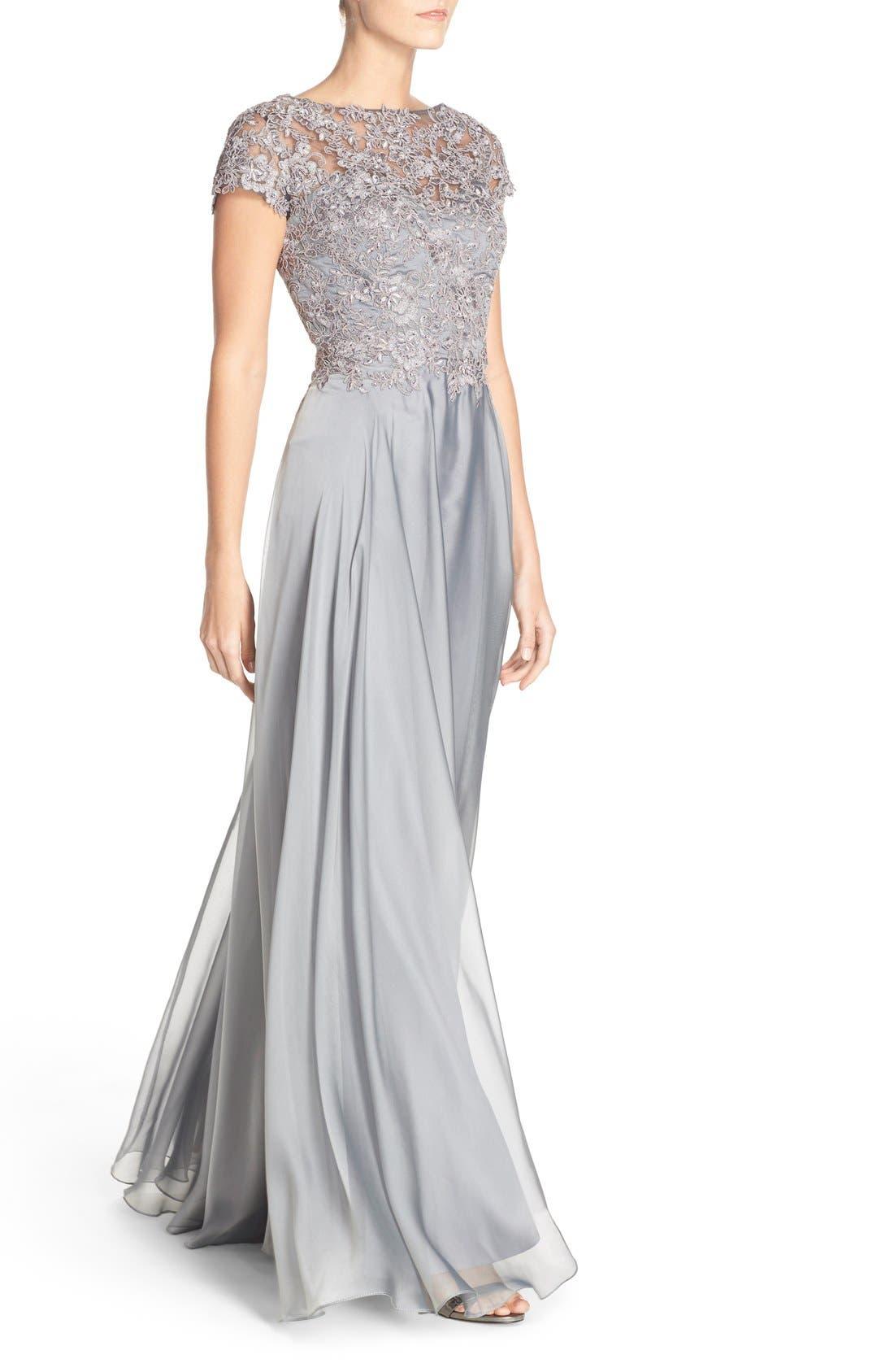 LA FEMME, Embellished Lace & Satin Ballgown, Alternate thumbnail 3, color, PLATINUM