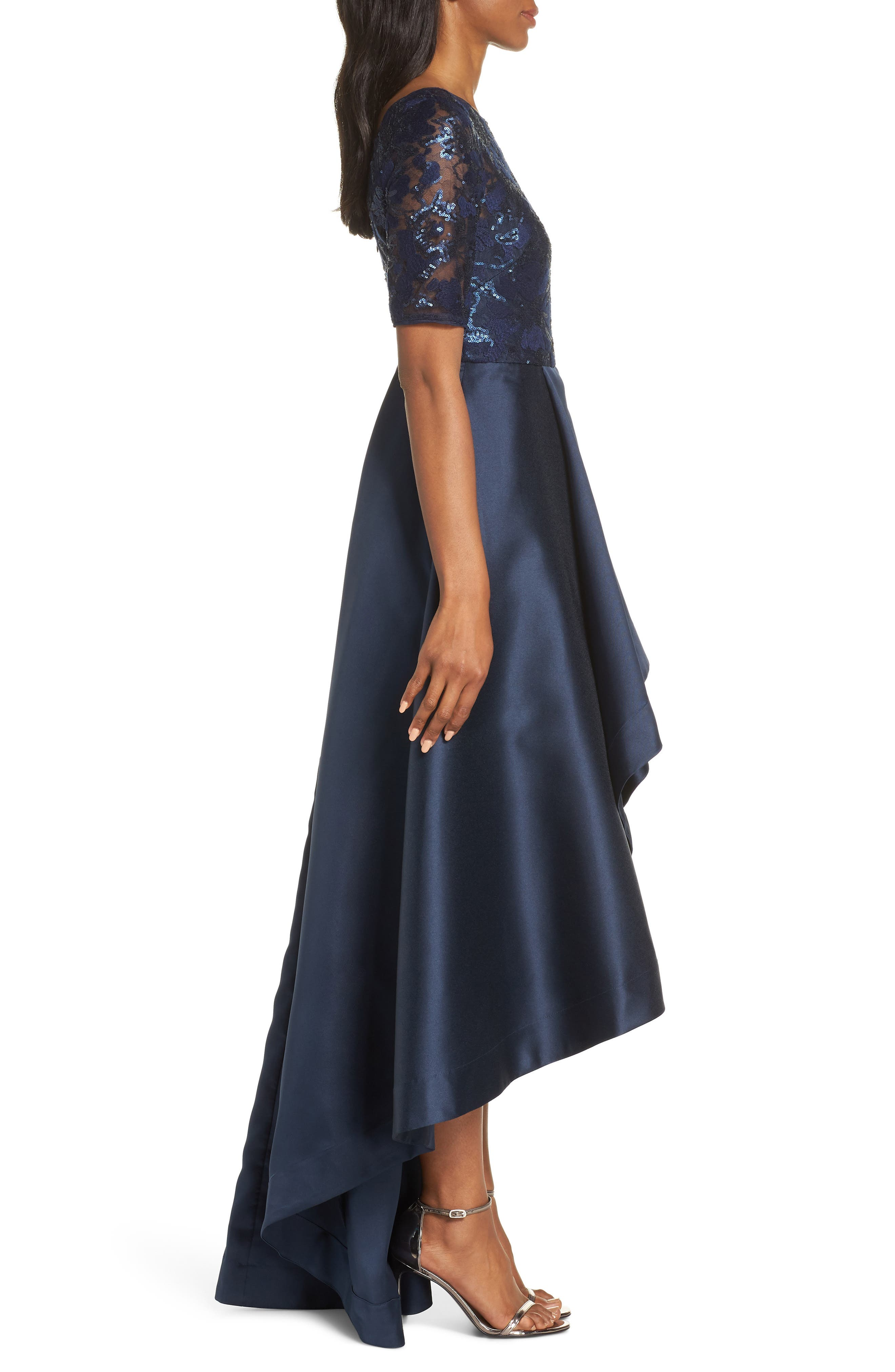 ADRIANNA PAPELL, Sequin Lace High/Low Evening Dress, Alternate thumbnail 4, color, MIDNIGHT