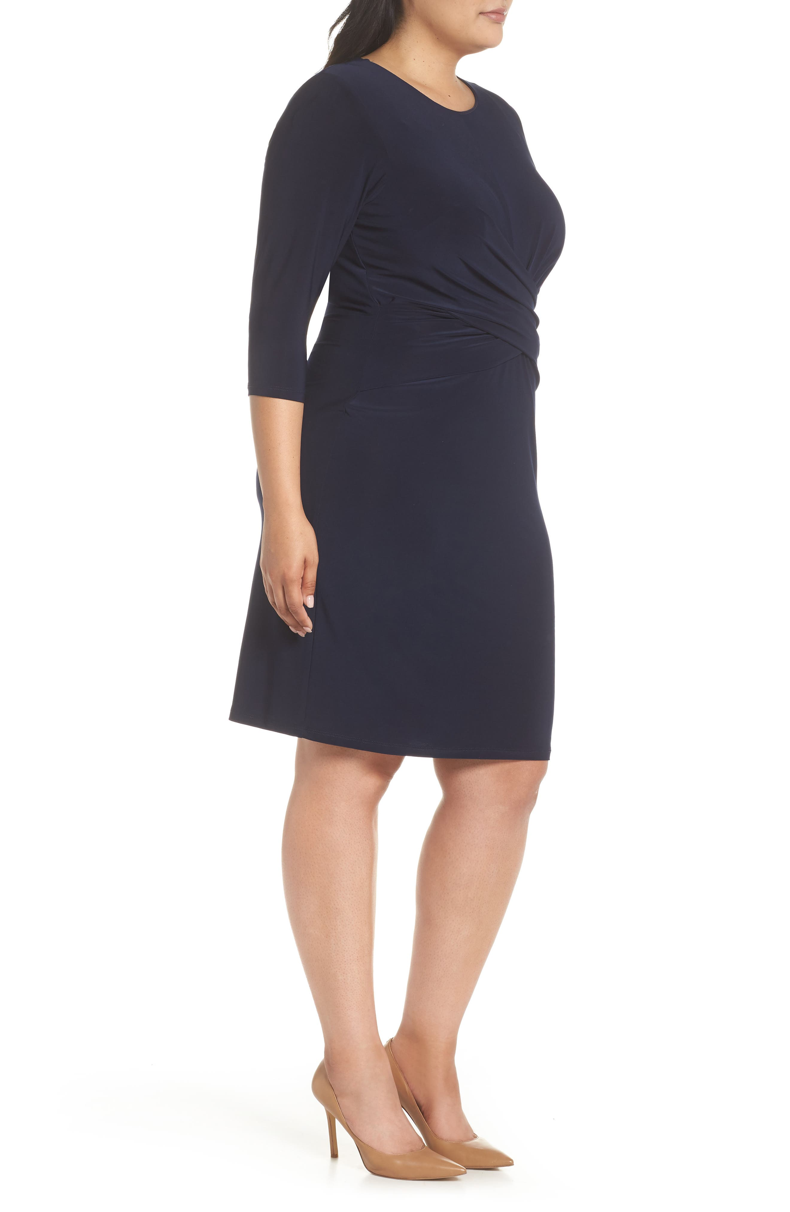 ELIZA J, Ruched Waist Sheath Dress, Alternate thumbnail 4, color, NAVY