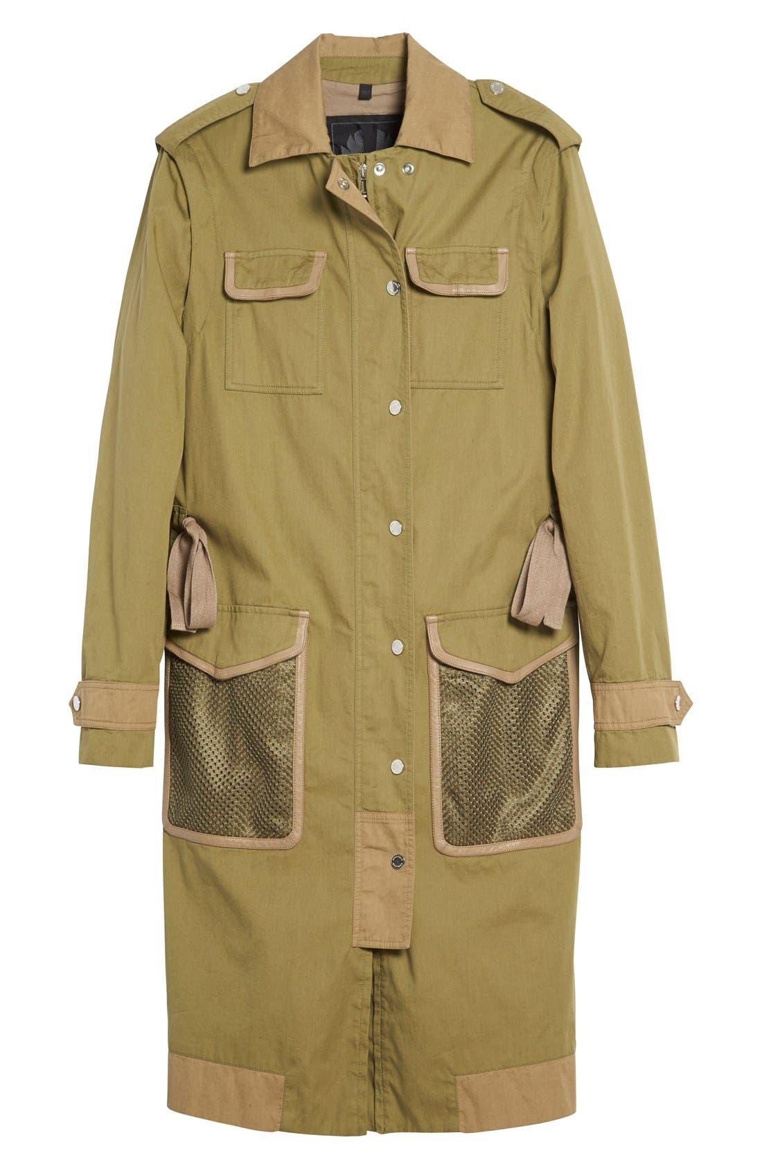 BELSTAFF, Leather Trim Tactical Cotton Gabardine Coat, Alternate thumbnail 6, color, 309