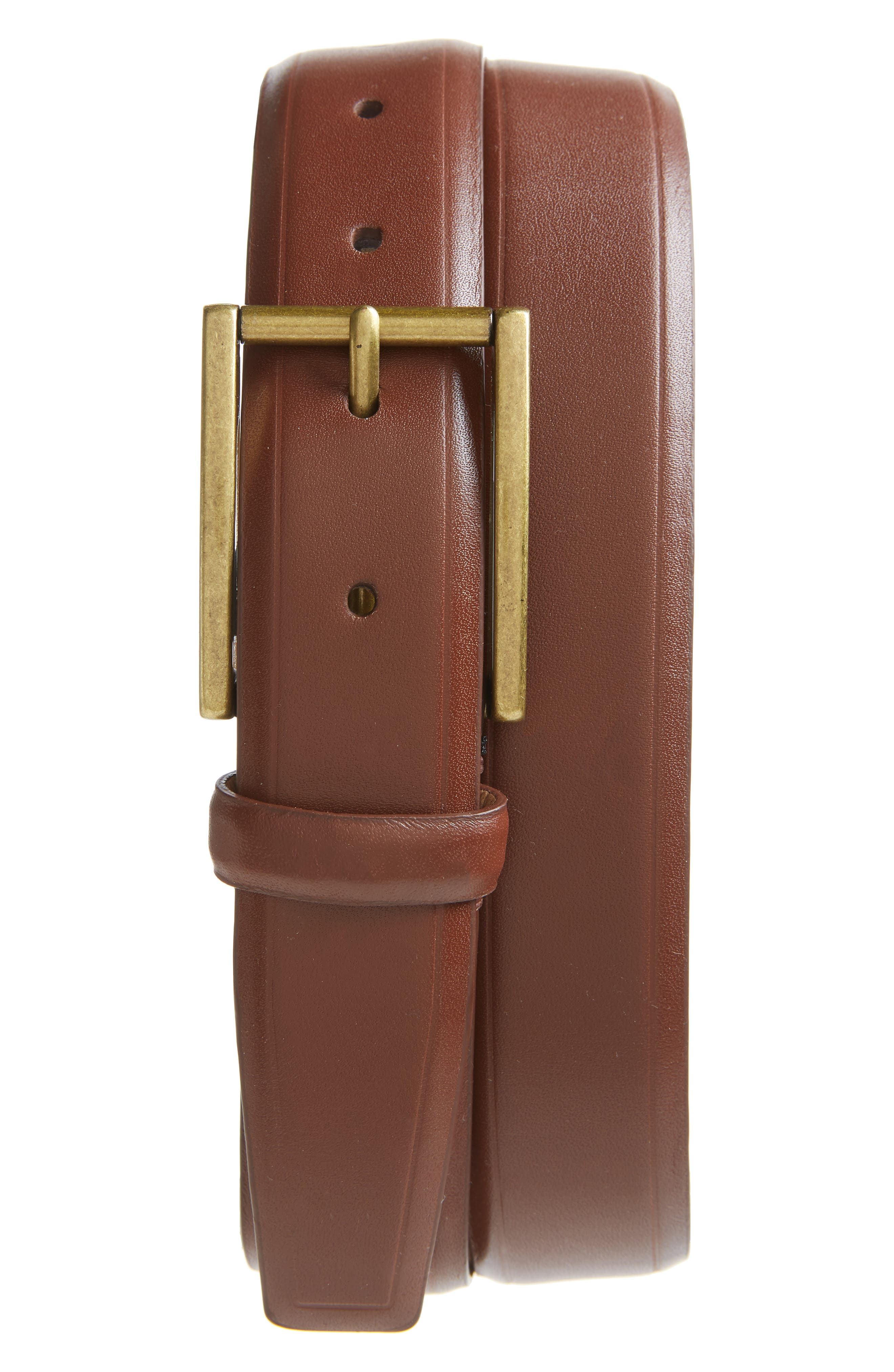 COLE HAAN, Leather Belt, Main thumbnail 1, color, 210
