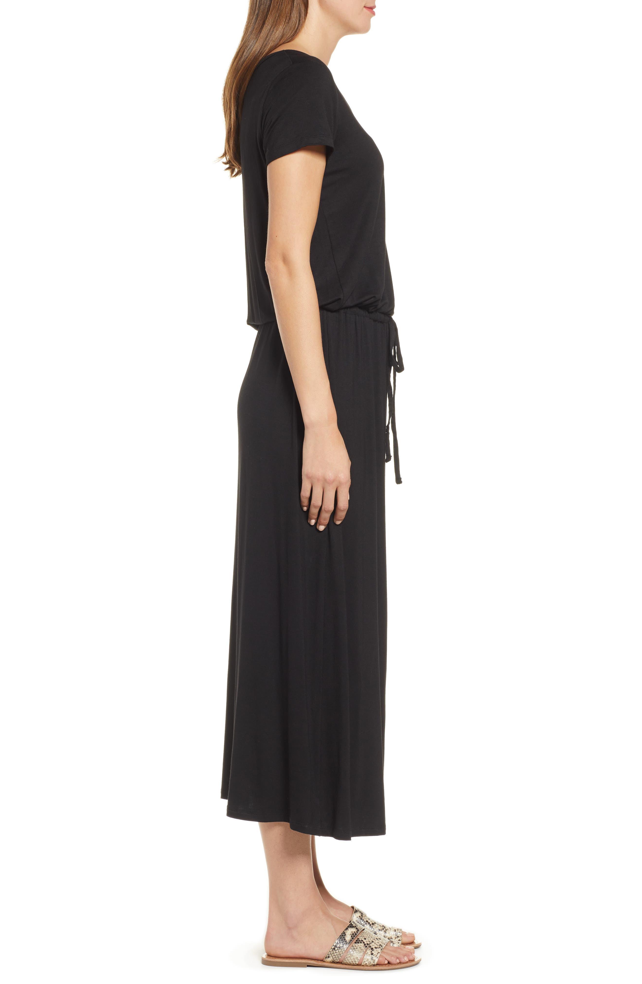 CASLON<SUP>®</SUP>, Drawstring Jersey Maxi Dress, Alternate thumbnail 5, color, 001