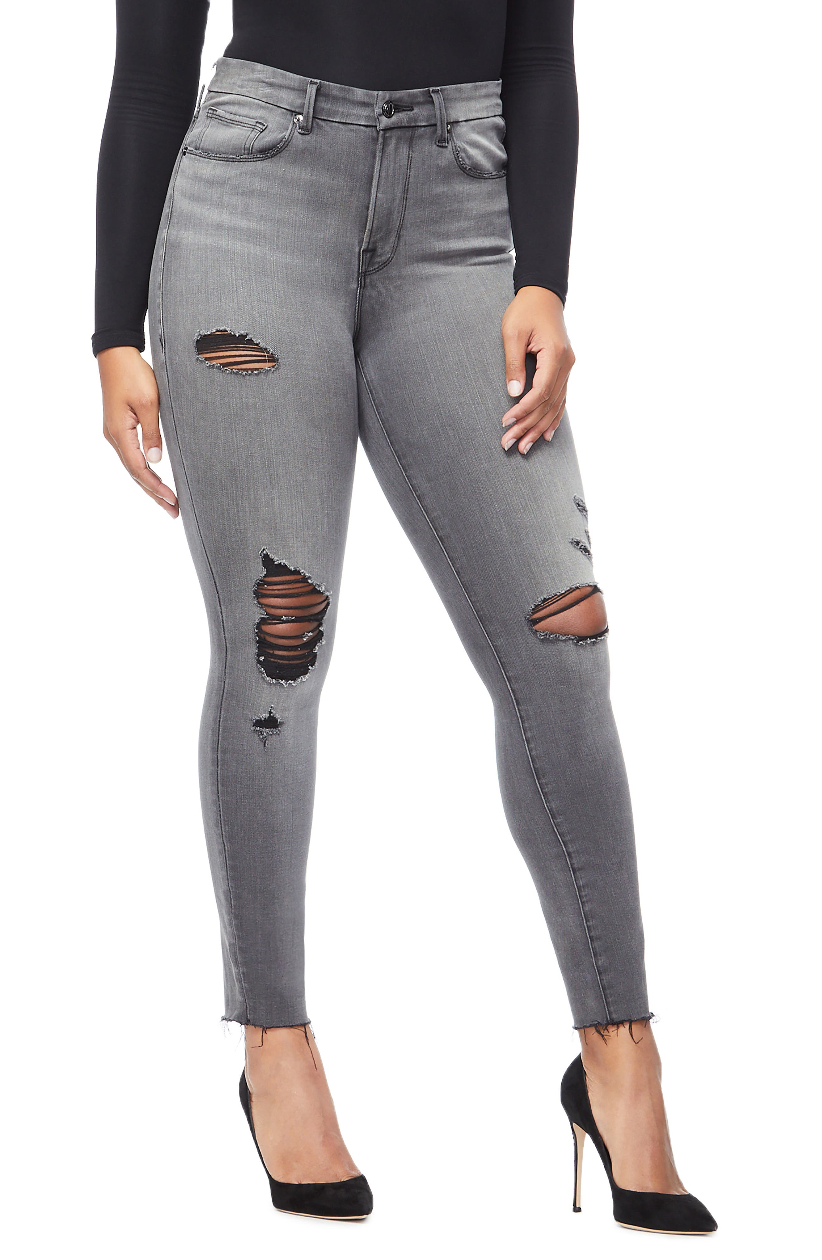 GOOD AMERICAN, Good Waist Ripped High Waist Skinny Jeans, Alternate thumbnail 8, color, BLACK044