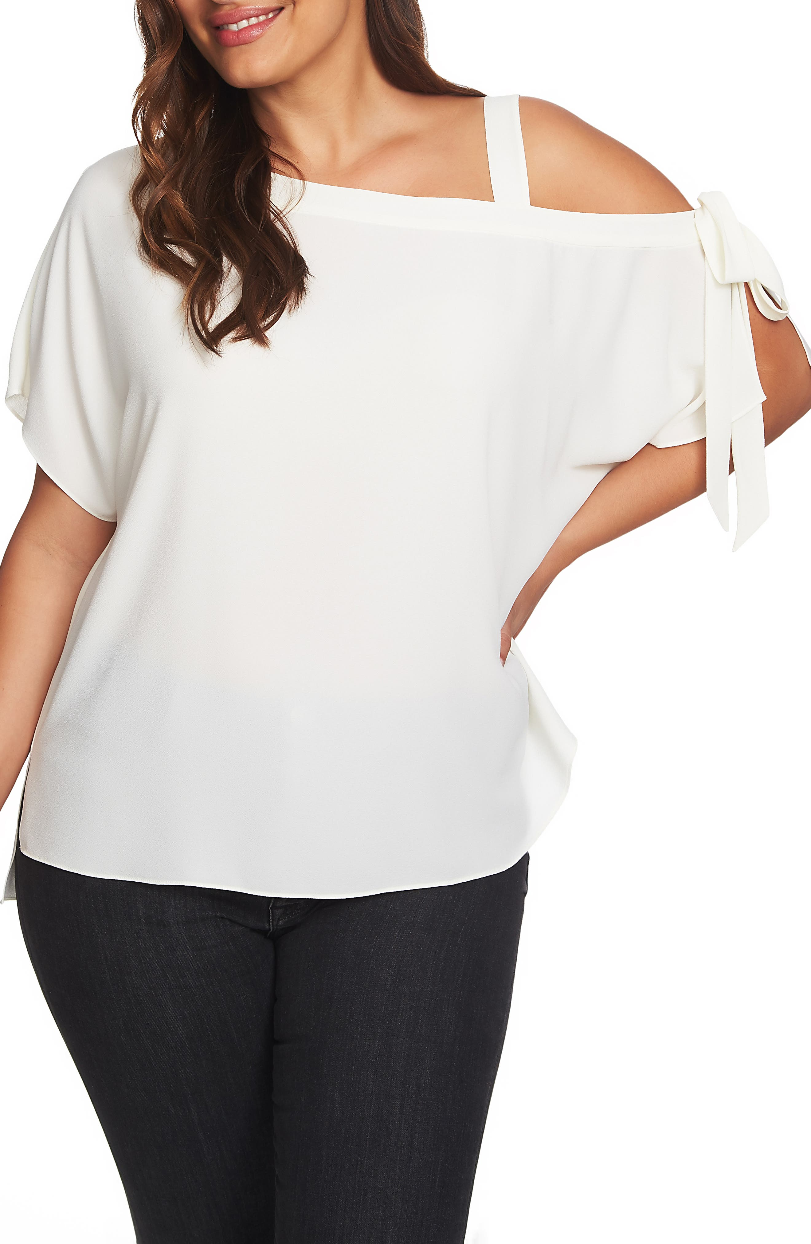 1.STATE One-Shoulder Tie Sleeve Blouse, Main, color, SOFT ECRU