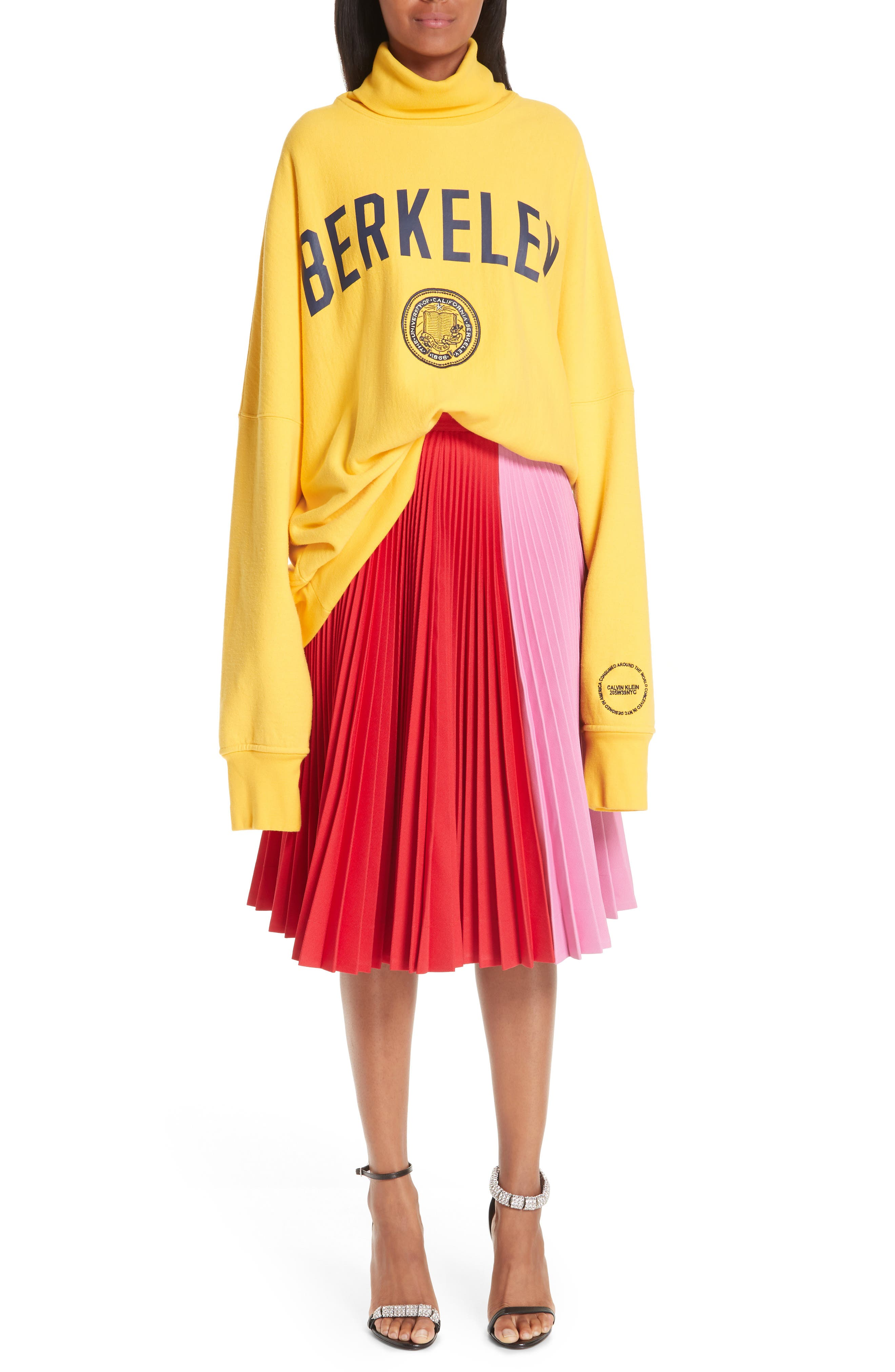 CALVIN KLEIN 205W39NYC, Bicolor Pleated Skirt, Alternate thumbnail 7, color, SCARLET ANEMONE