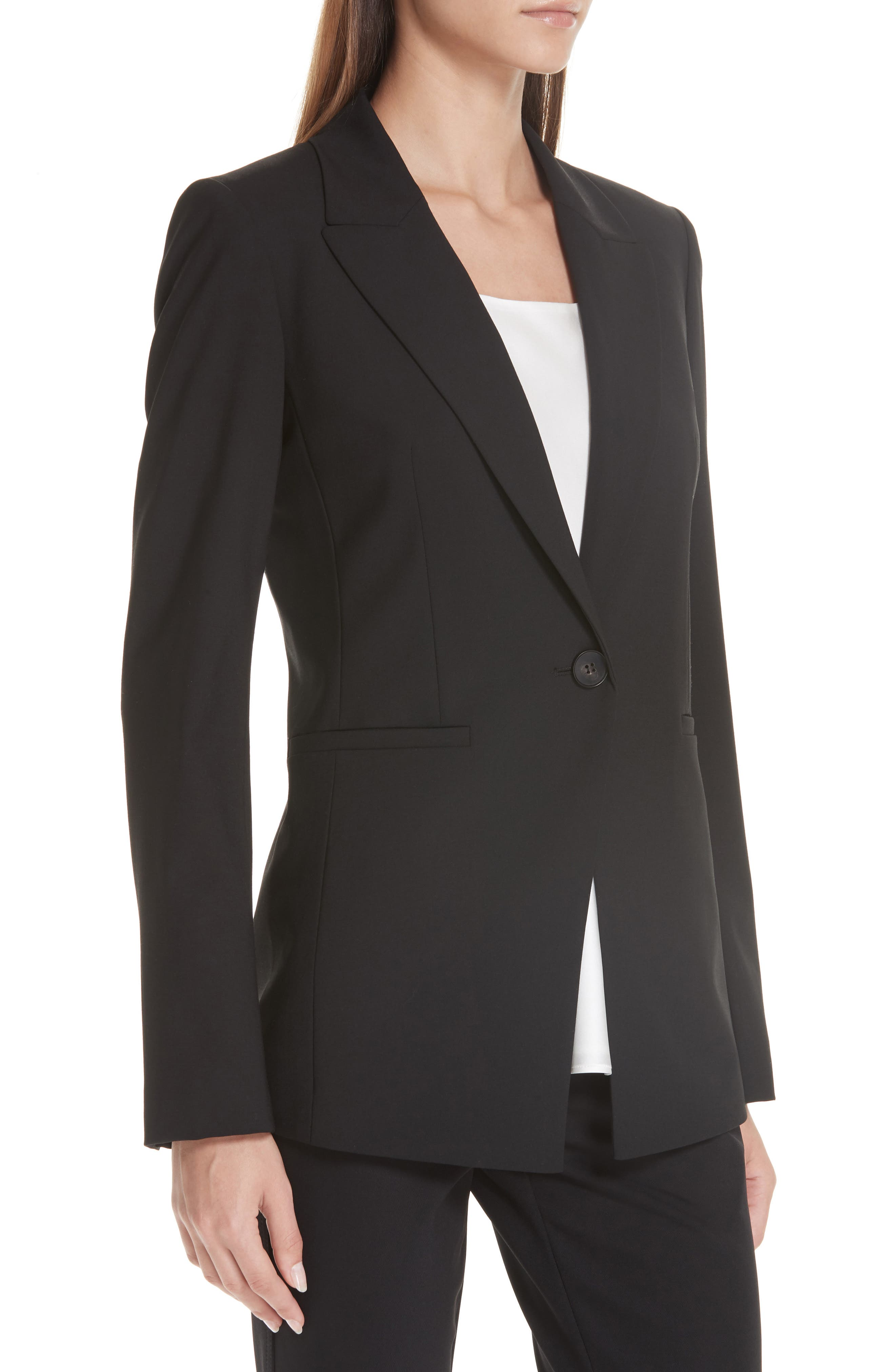 LAFAYETTE 148 NEW YORK, Charice Stretch Wool Jacket, Alternate thumbnail 6, color, BLACK