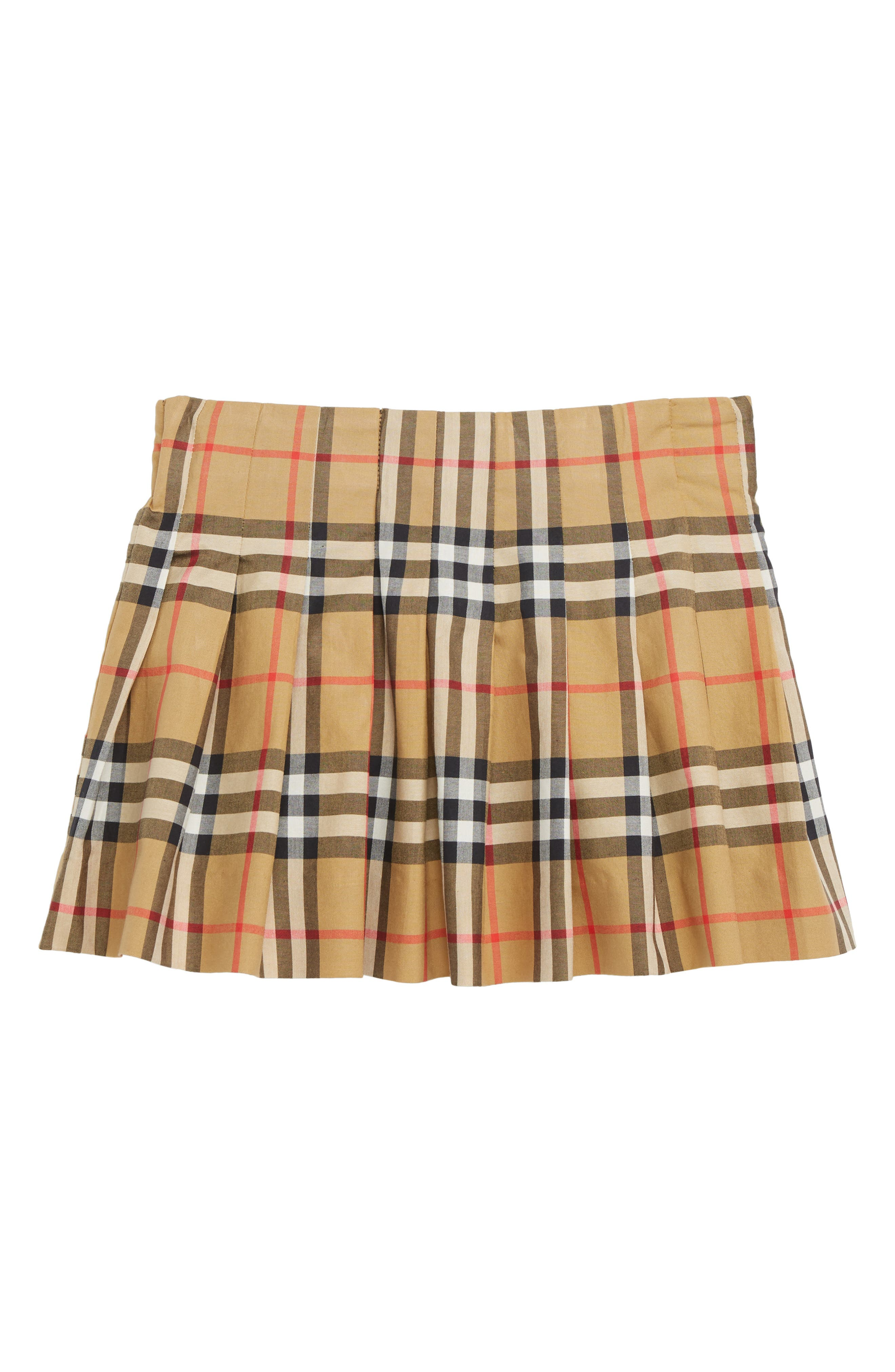 BURBERRY Pearl Pleated Vintage Check Skirt, Main, color, ANTIQUE YELLOW