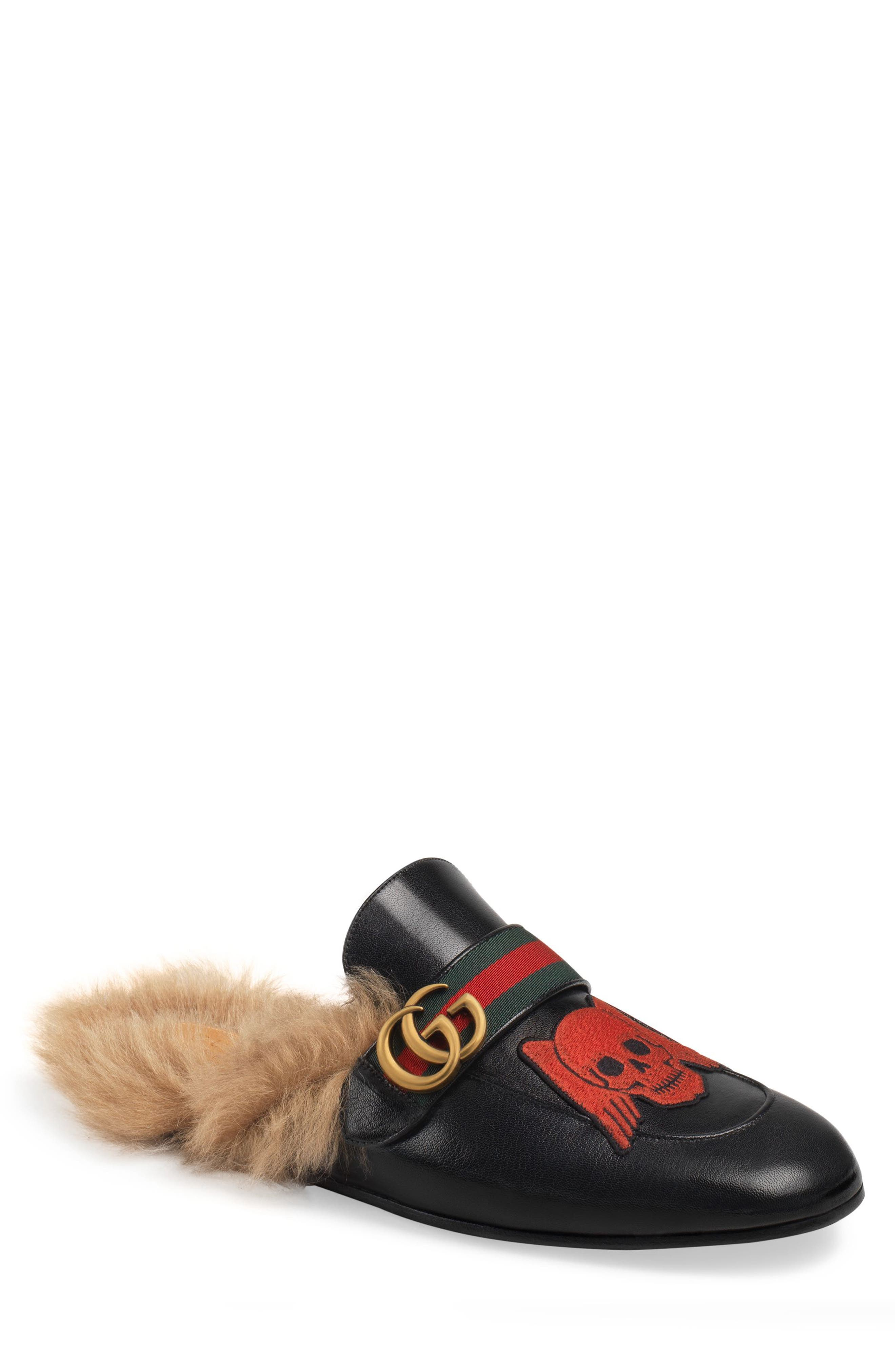 GUCCI, Princetown Double G Loafer Mule with Genuine Shearling, Main thumbnail 1, color, BLACK
