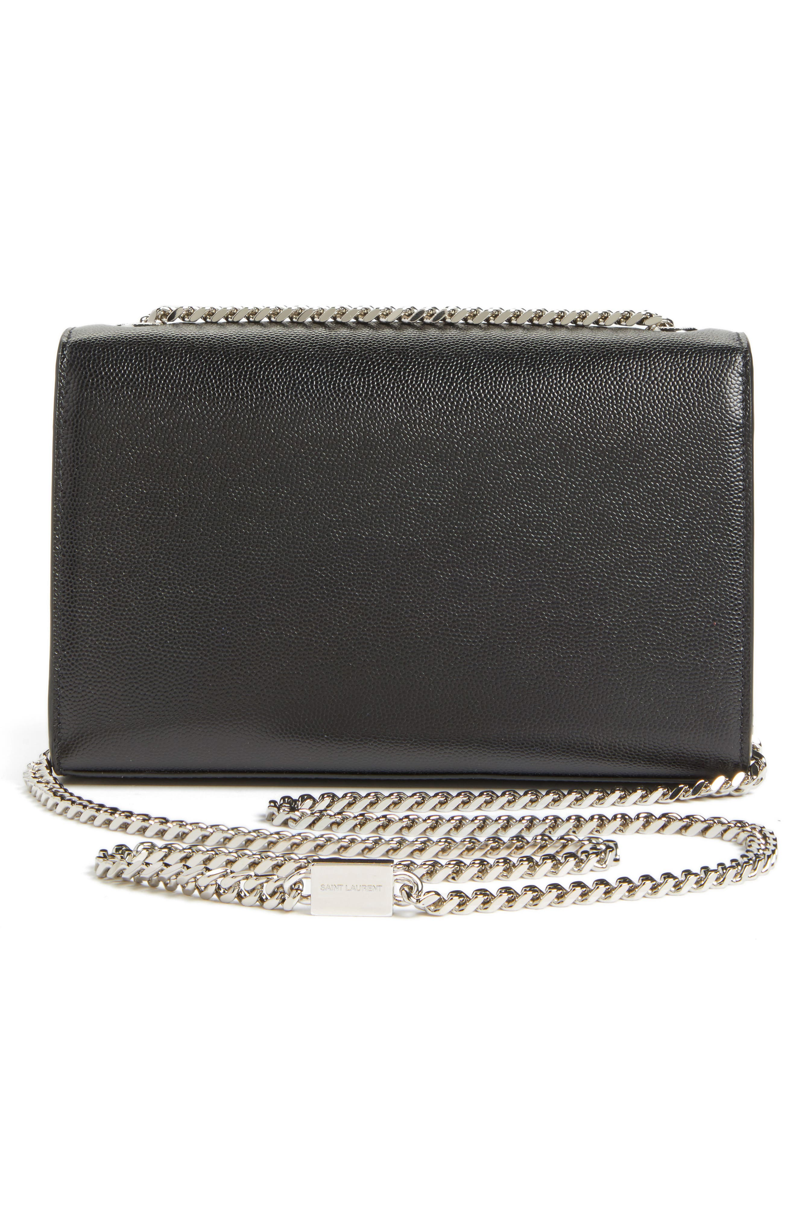 SAINT LAURENT, Small Kate Grained Leather Crossbody Bag, Alternate thumbnail 3, color, NOIR