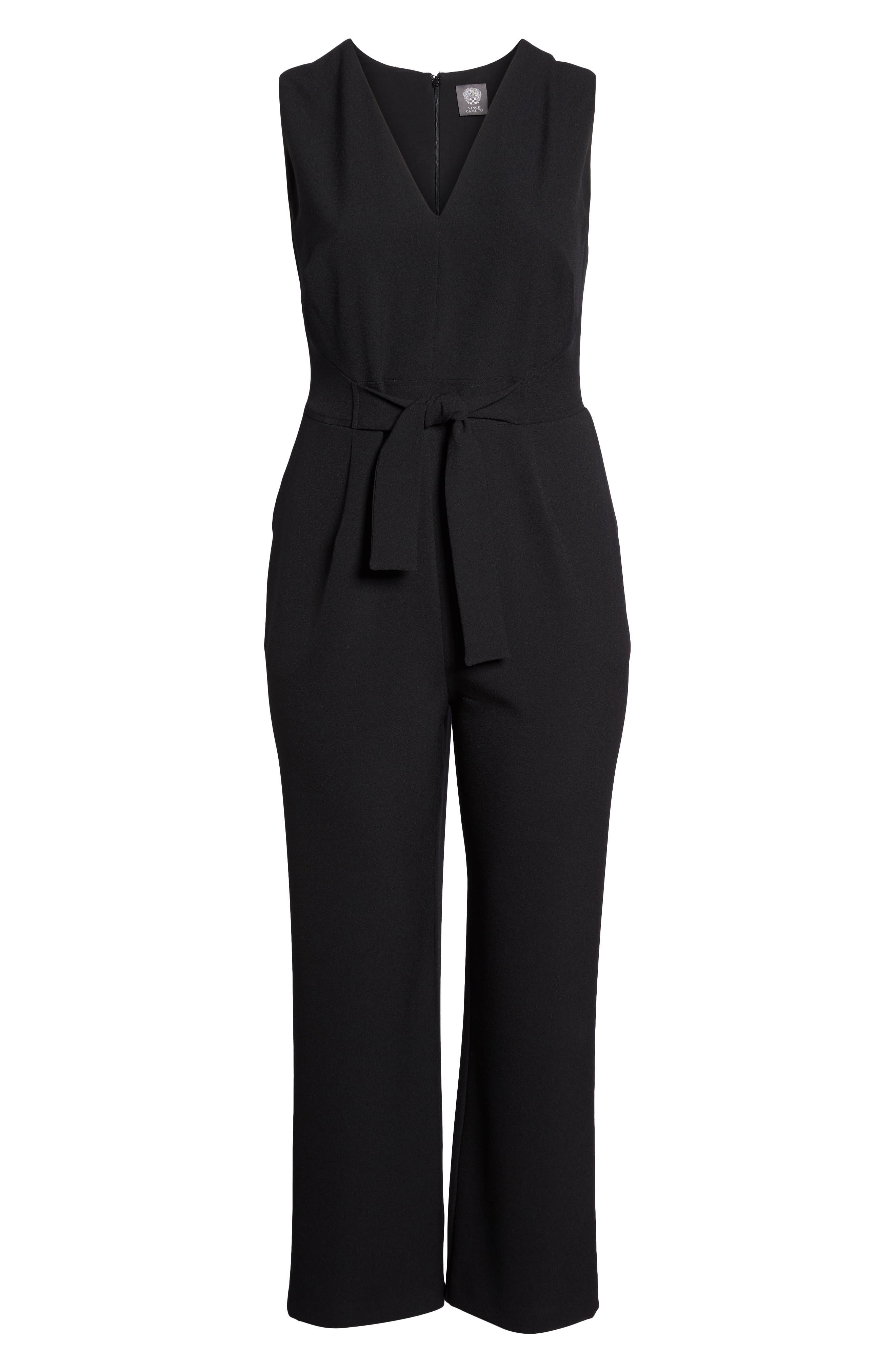 VINCE CAMUTO, Crepe Tie Front Wide Leg Jumpsuit, Alternate thumbnail 7, color, BLACK