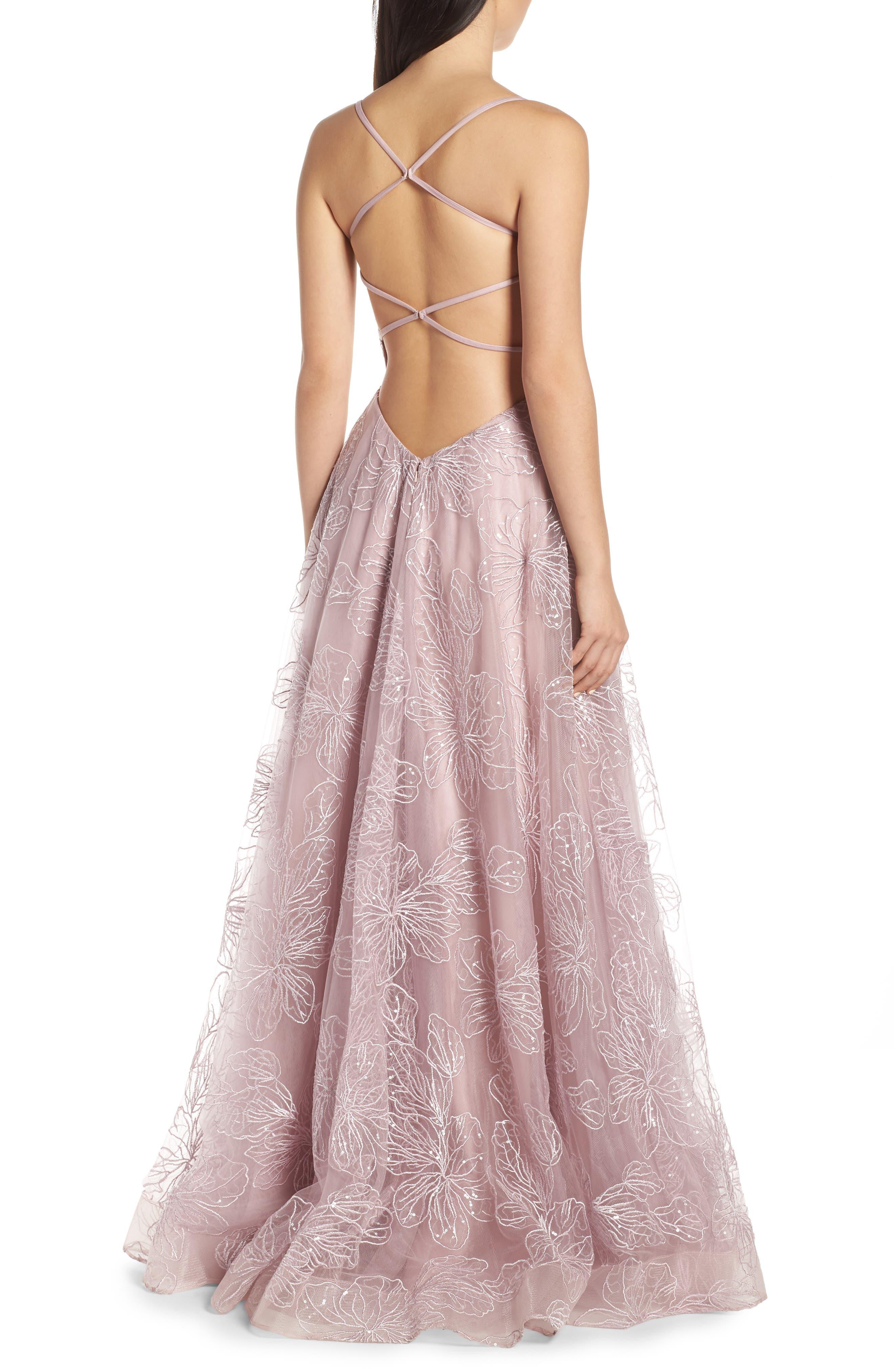 LA FEMME, Metallic Floral Embellished Evening Dress, Alternate thumbnail 2, color, MAUVE