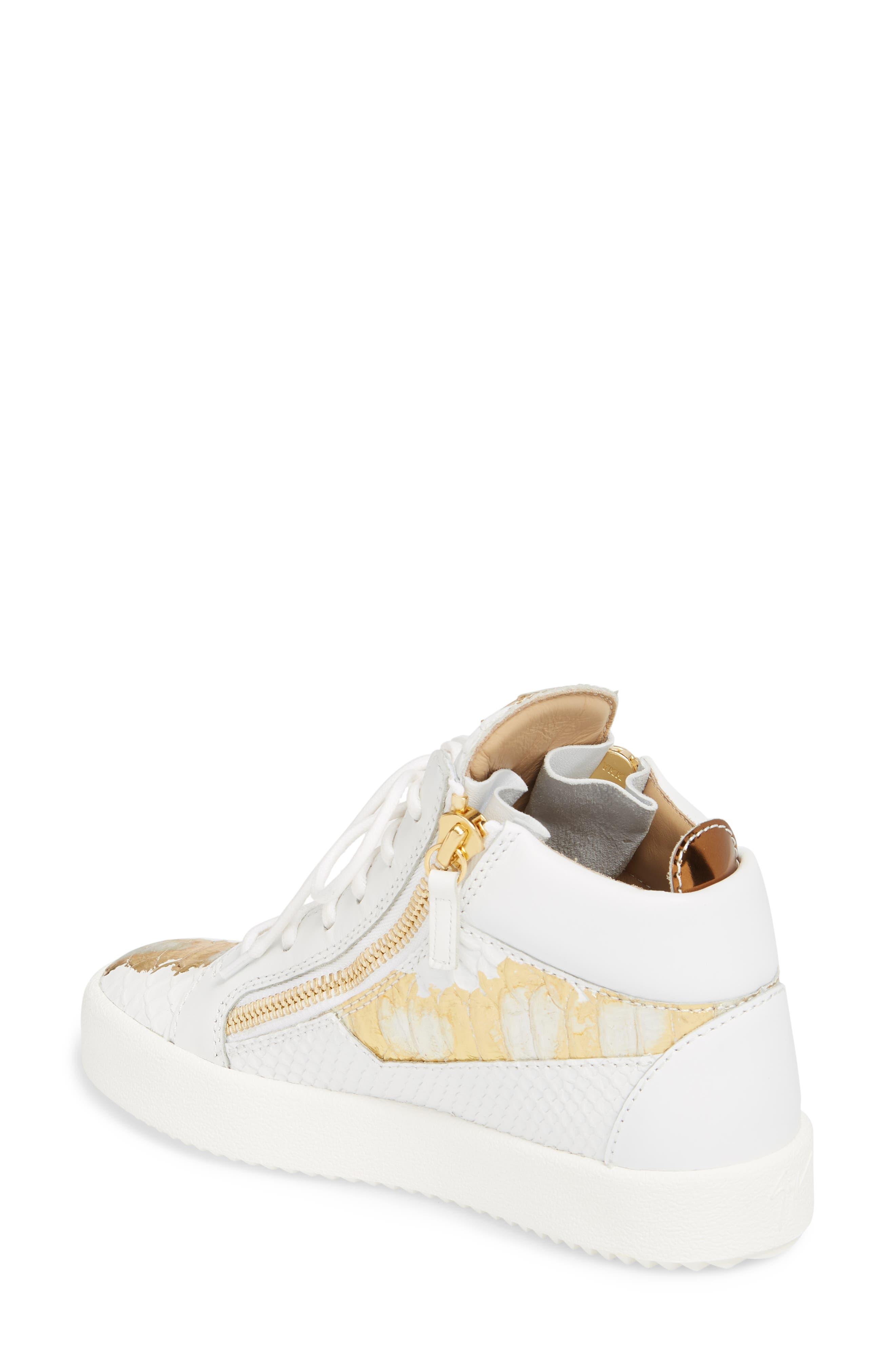 GIUSEPPE ZANOTTI, May London Mid Top Sneaker, Alternate thumbnail 2, color, WHITE/NEON YELLOW