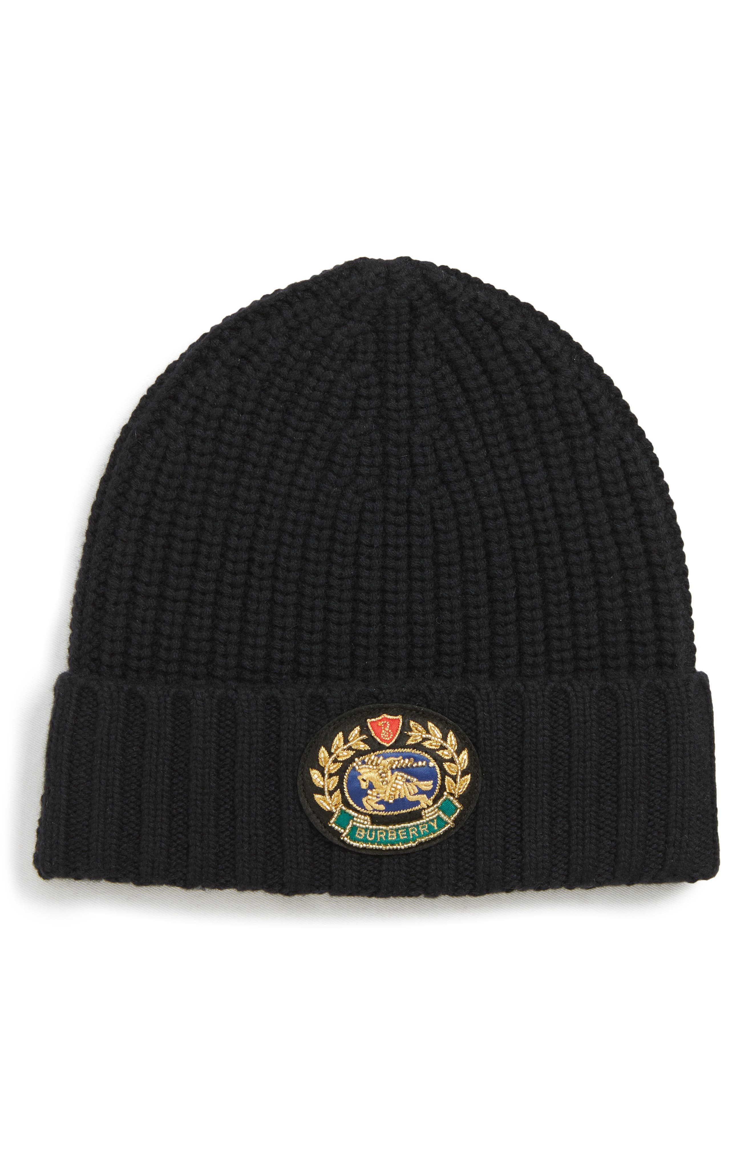 BURBERRY, Embroidered Crest Wool & Cashmere Beanie, Main thumbnail 1, color, BLACK