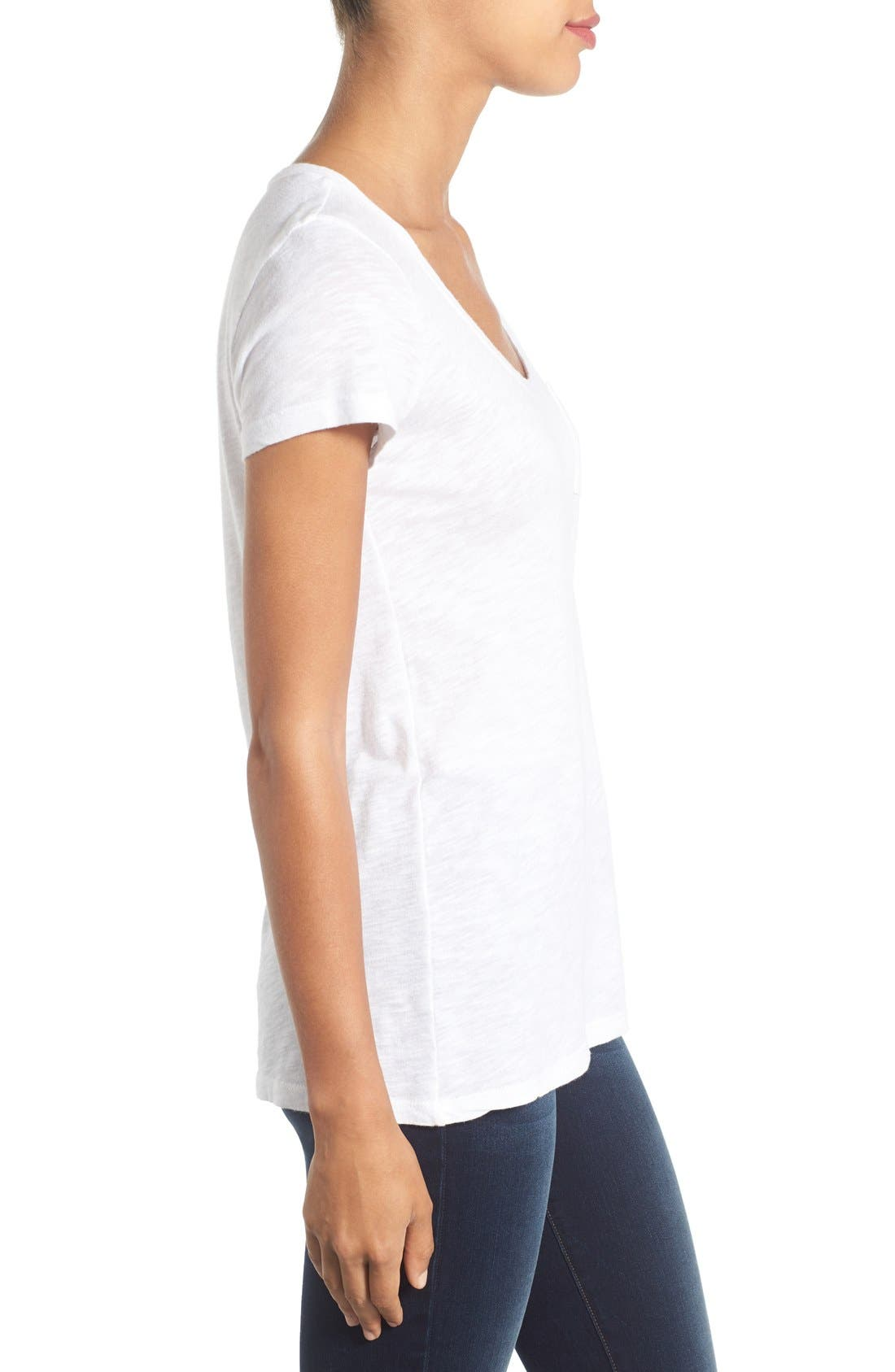 CASLON<SUP>®</SUP>, Rounded V-Neck Tee, Alternate thumbnail 10, color, WHITE