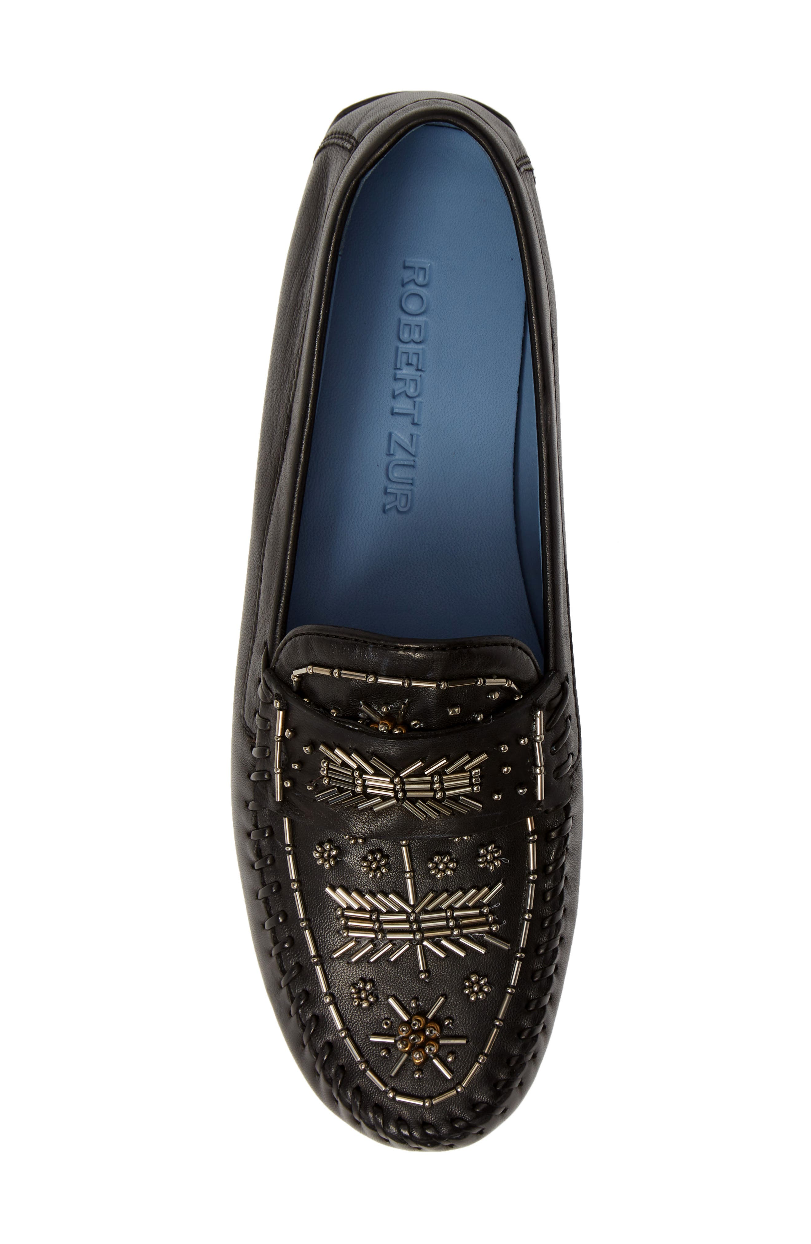 ROBERT ZUR, Majorca Embellished Loafer, Alternate thumbnail 5, color, BLACK TGLOVE