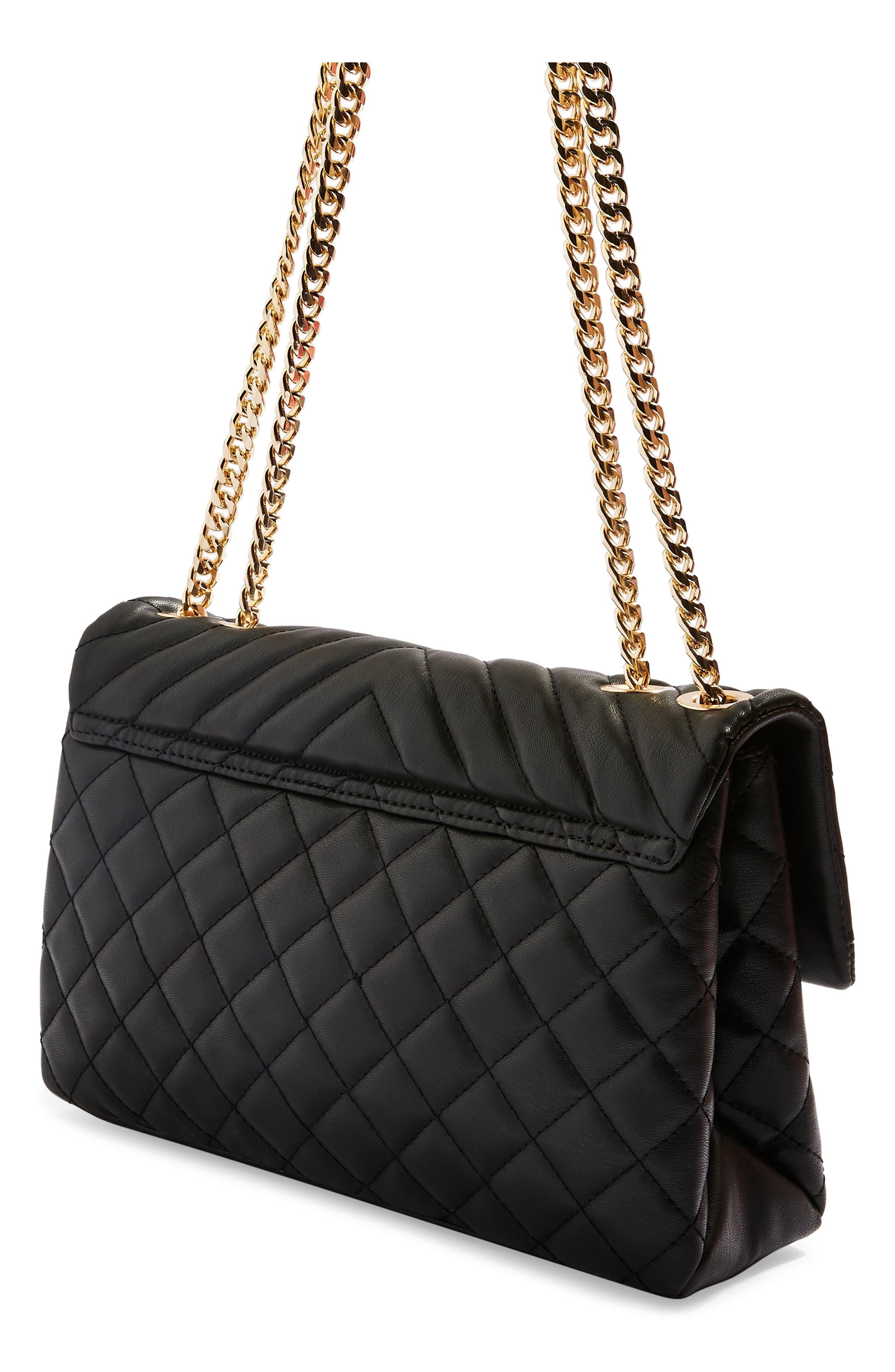 TOPSHOP, Panther Quilted Faux Leather Shoulder Bag, Alternate thumbnail 3, color, 001