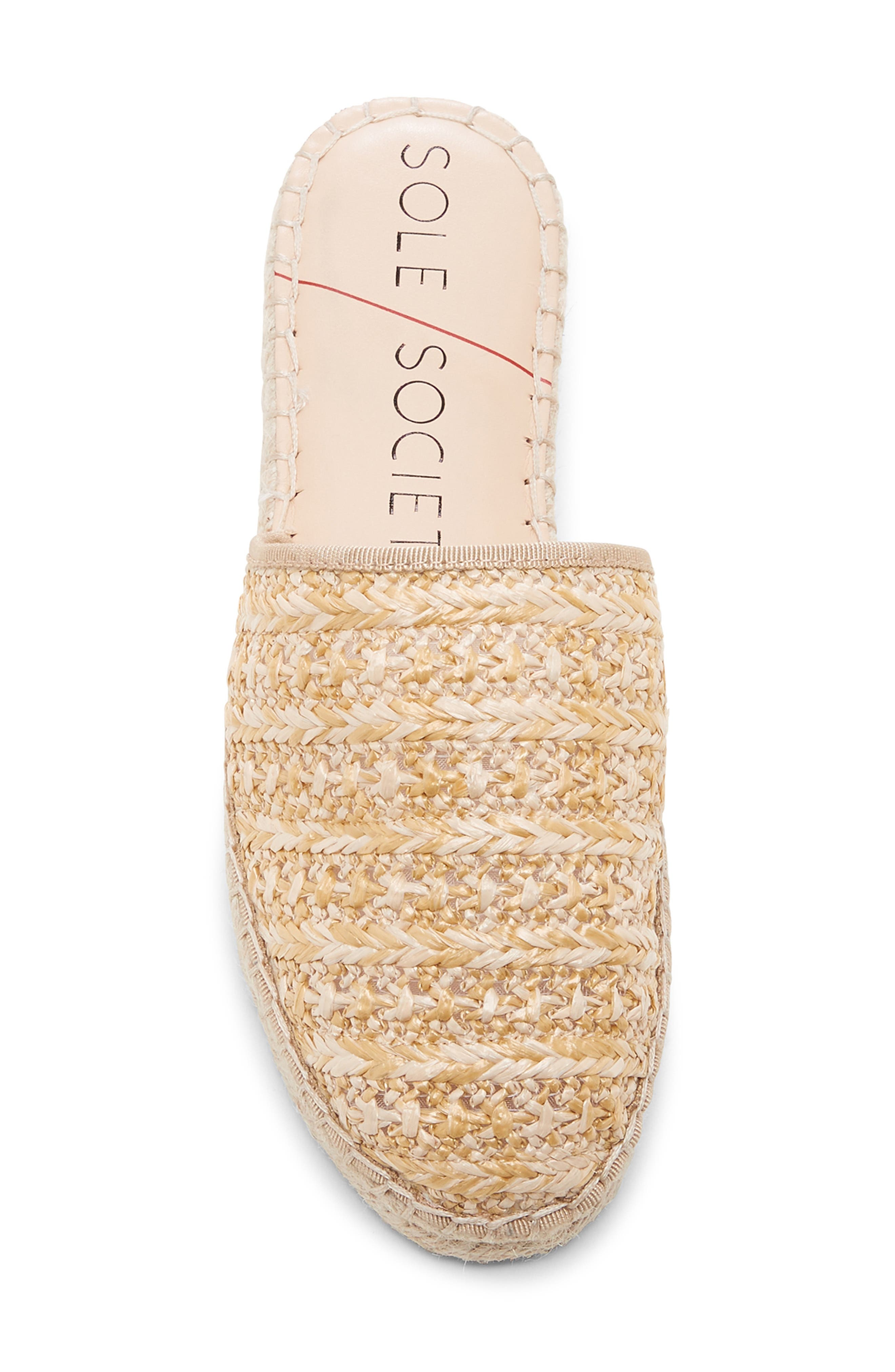SOLE SOCIETY, Sadelle Espadrille Mule, Alternate thumbnail 5, color, NATURAL FABRIC