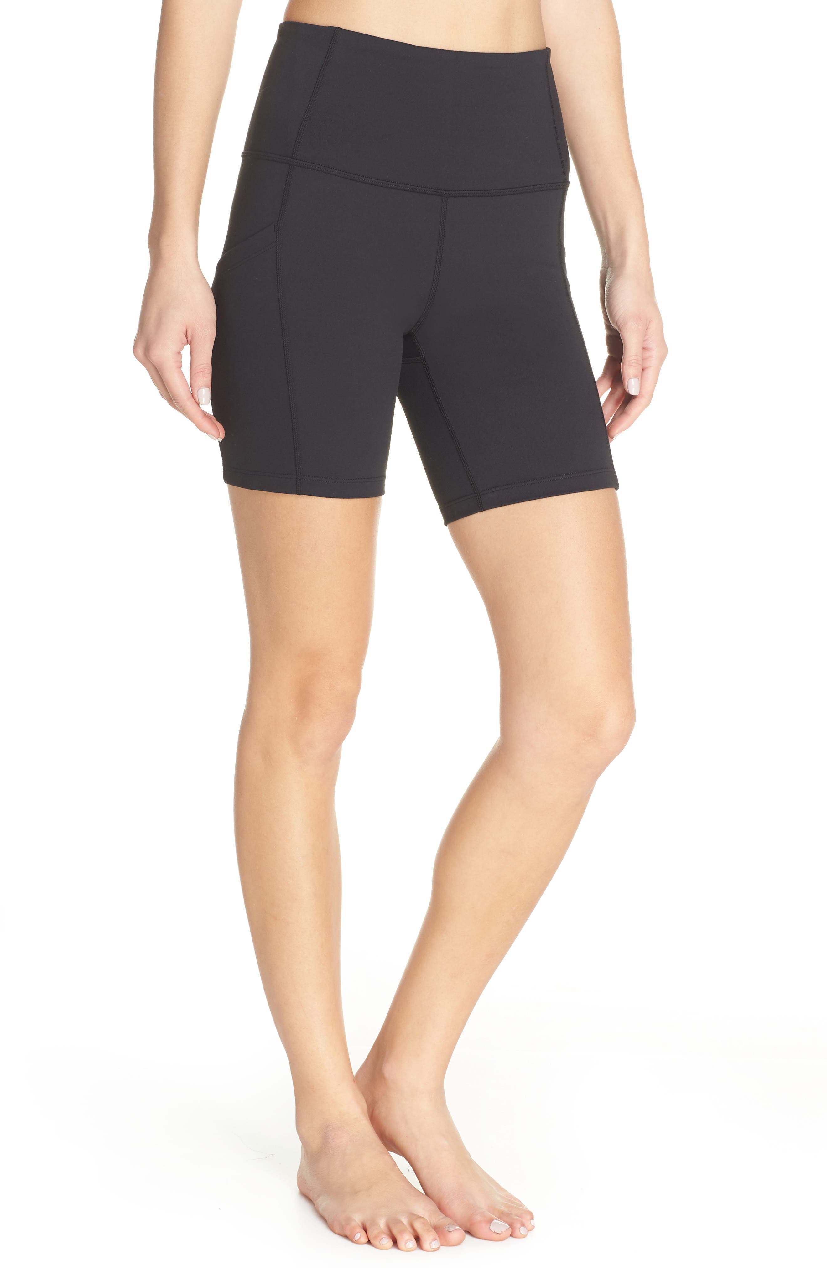 ZELLA Live In High Waist Pocket Bike Shorts, Main, color, BLACK