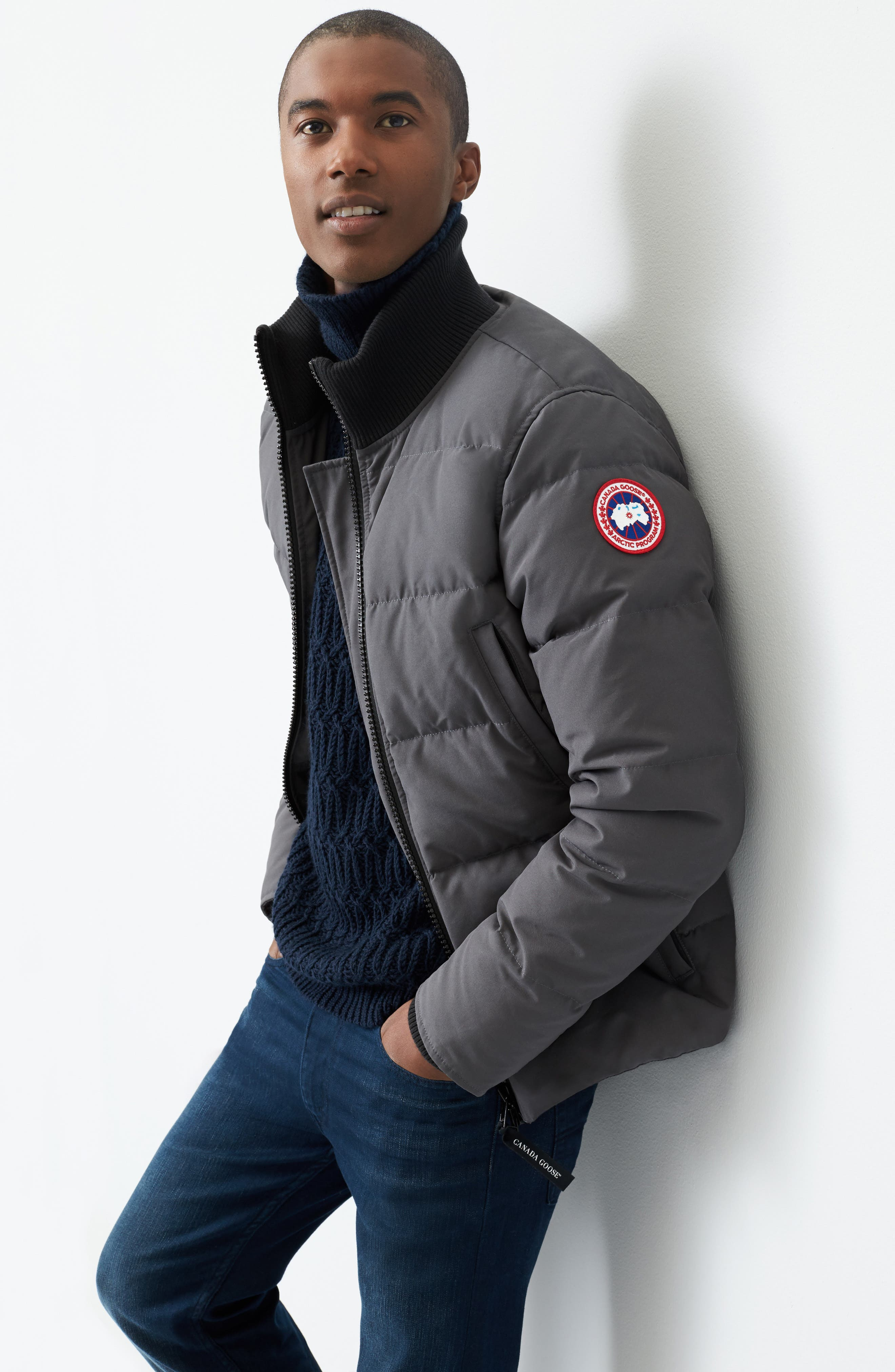 CANADA GOOSE, 'Woolford' Slim Fit Down Bomber Jacket, Alternate thumbnail 9, color, GRAPHITE