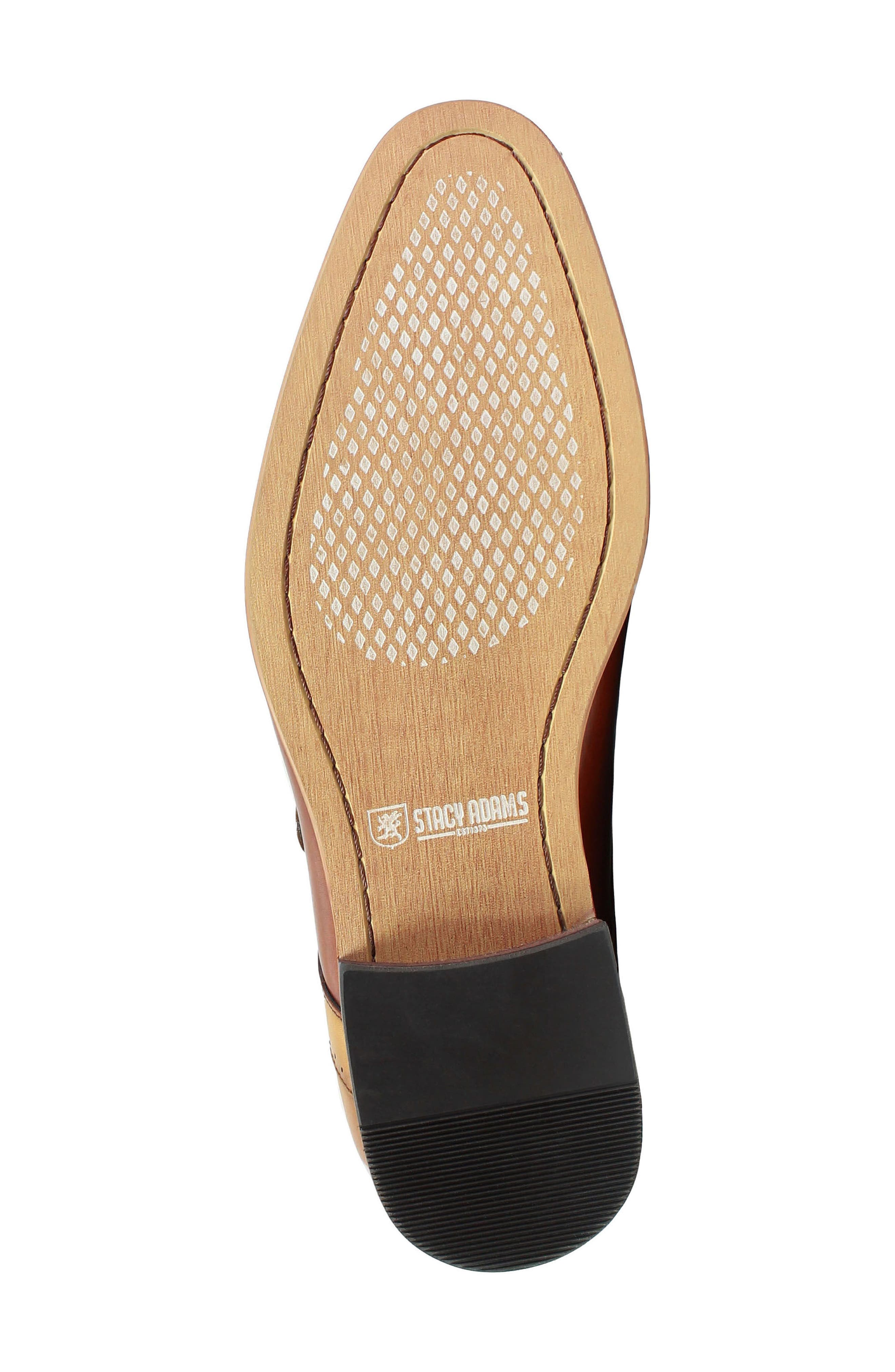 STACY ADAMS, Saxton Perforated Monk Strap Shoe, Alternate thumbnail 6, color, 201