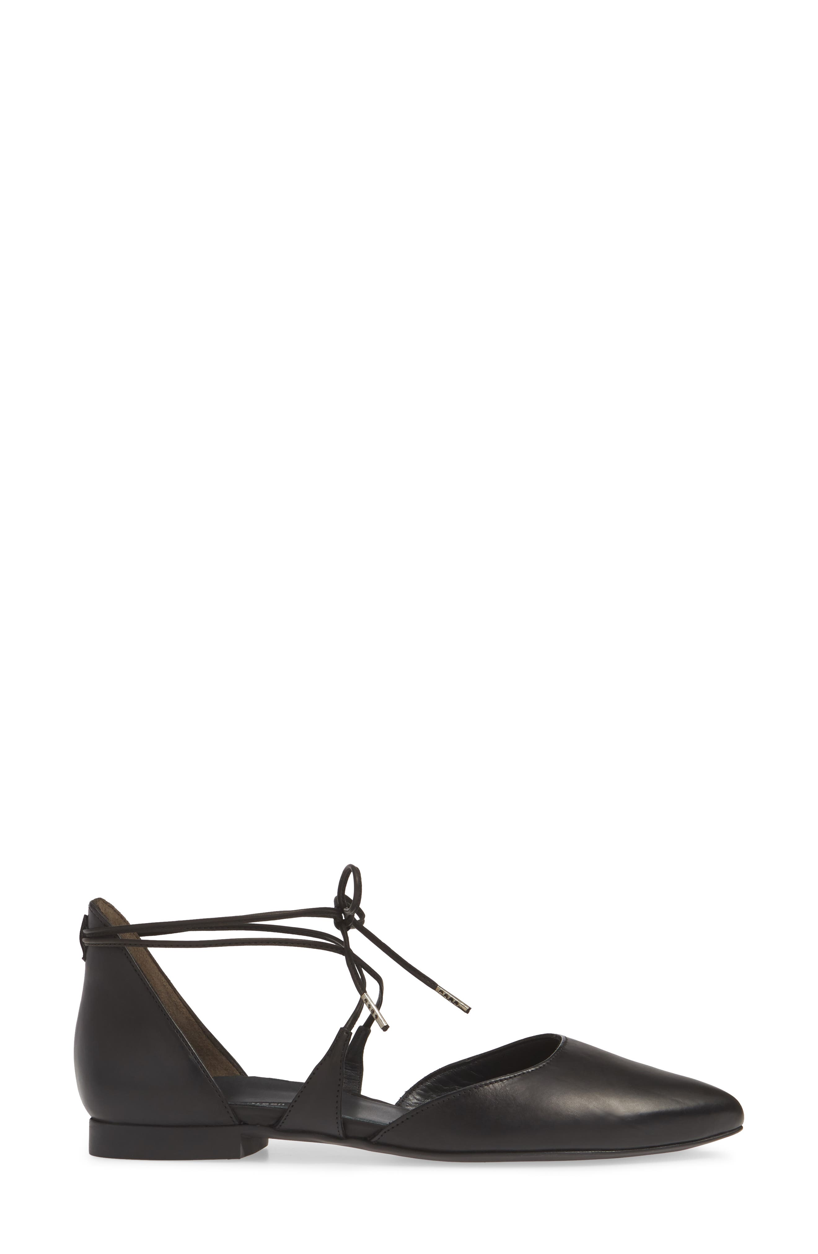 PAUL GREEN, Lace Up Flat, Alternate thumbnail 3, color, BLACK LEATHER