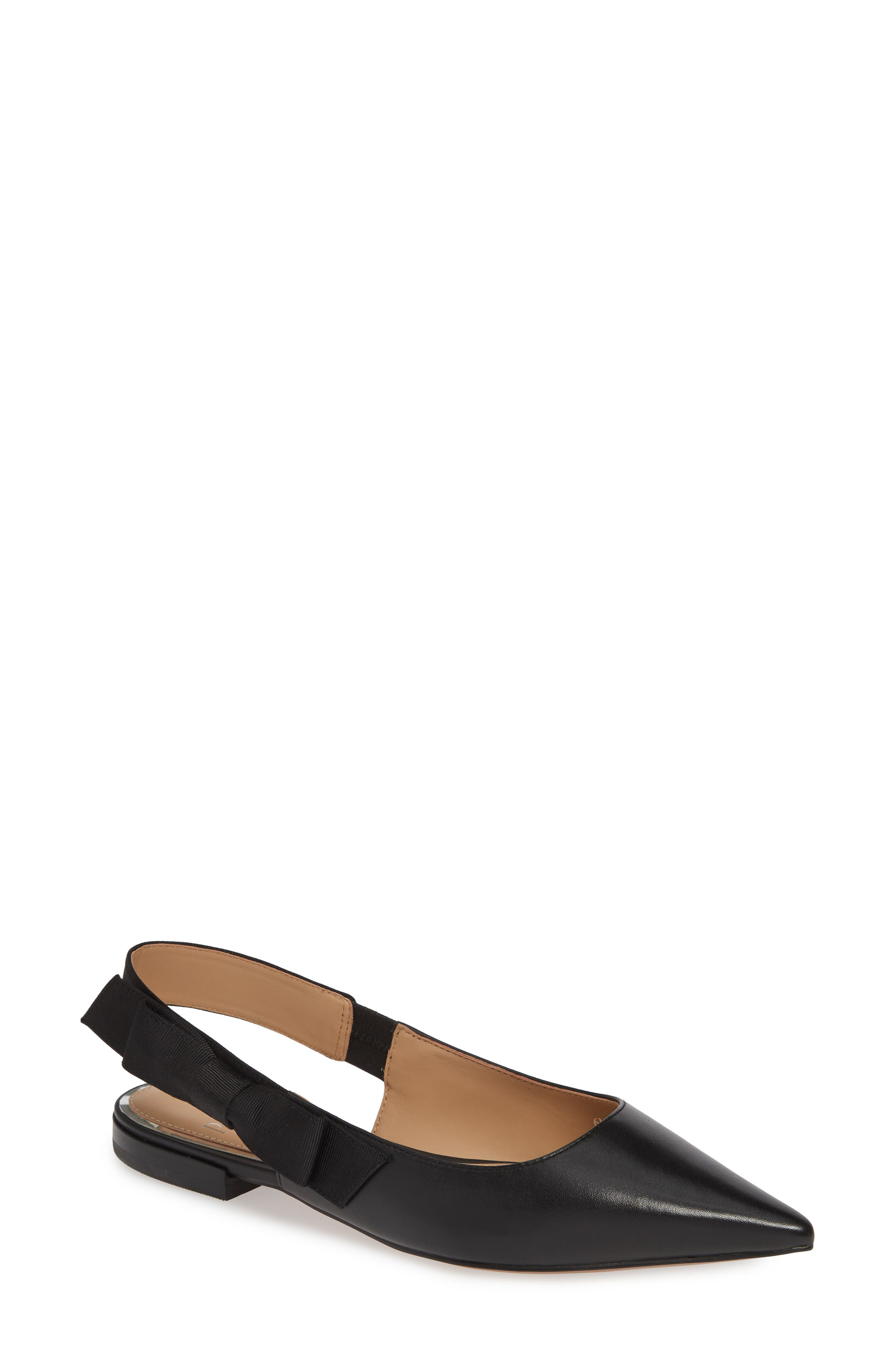 LINEA PAOLO, Darcy Bow Slingback Flat, Main thumbnail 1, color, BLACK LEATHER