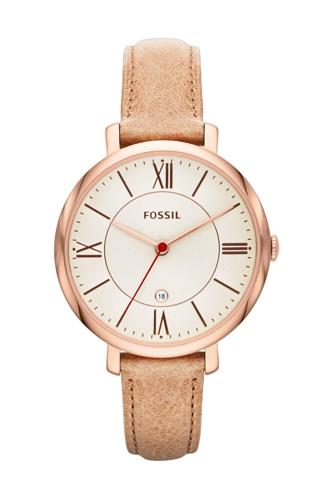 FOSSIL, 'Jacqueline' Round Leather Strap Watch, 36mm, Main thumbnail 1, color, SAND/ ROSE GOLD