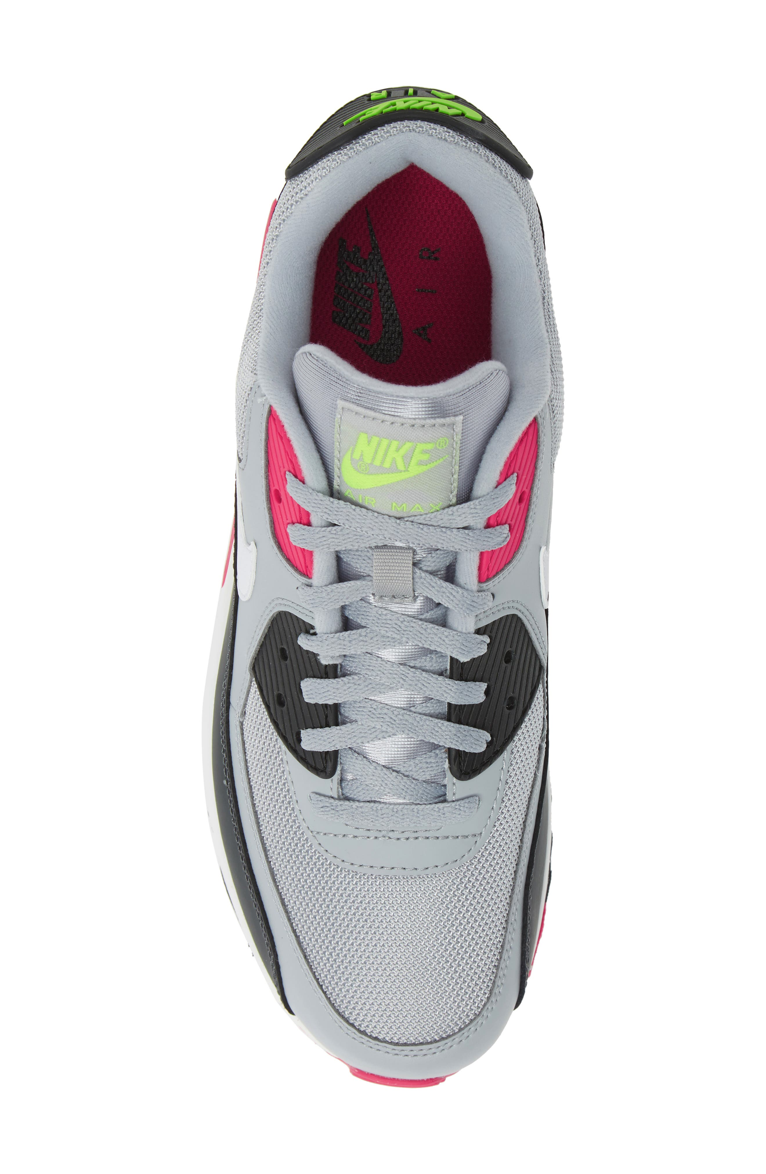 NIKE, Air Max 90 Essential Sneaker, Alternate thumbnail 5, color, WOLF GREY/ WHITE/ PINK