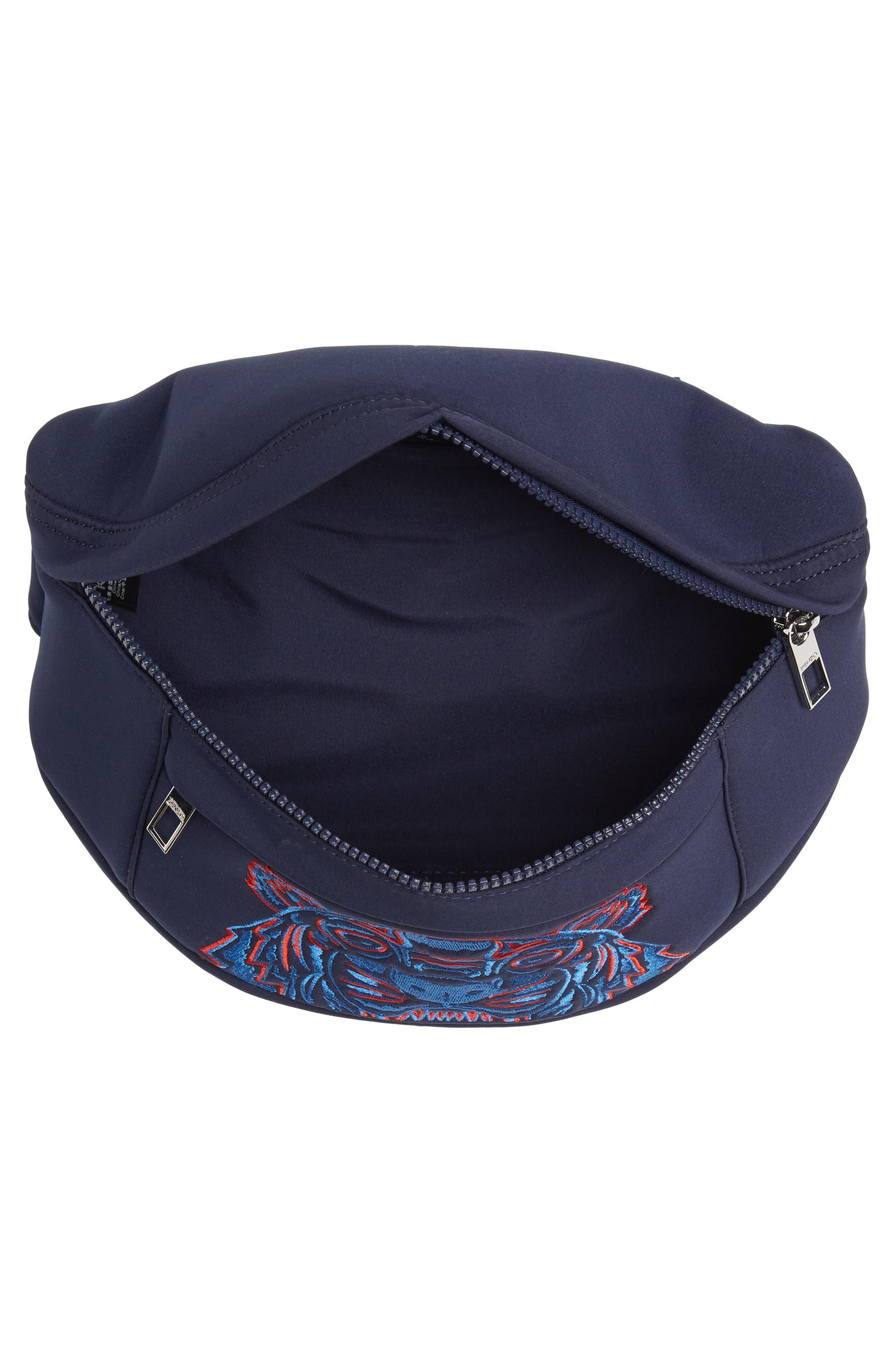 KENZO, Embroidered Tiger Belt Bag, Alternate thumbnail 5, color, 76A NAVY BLUE