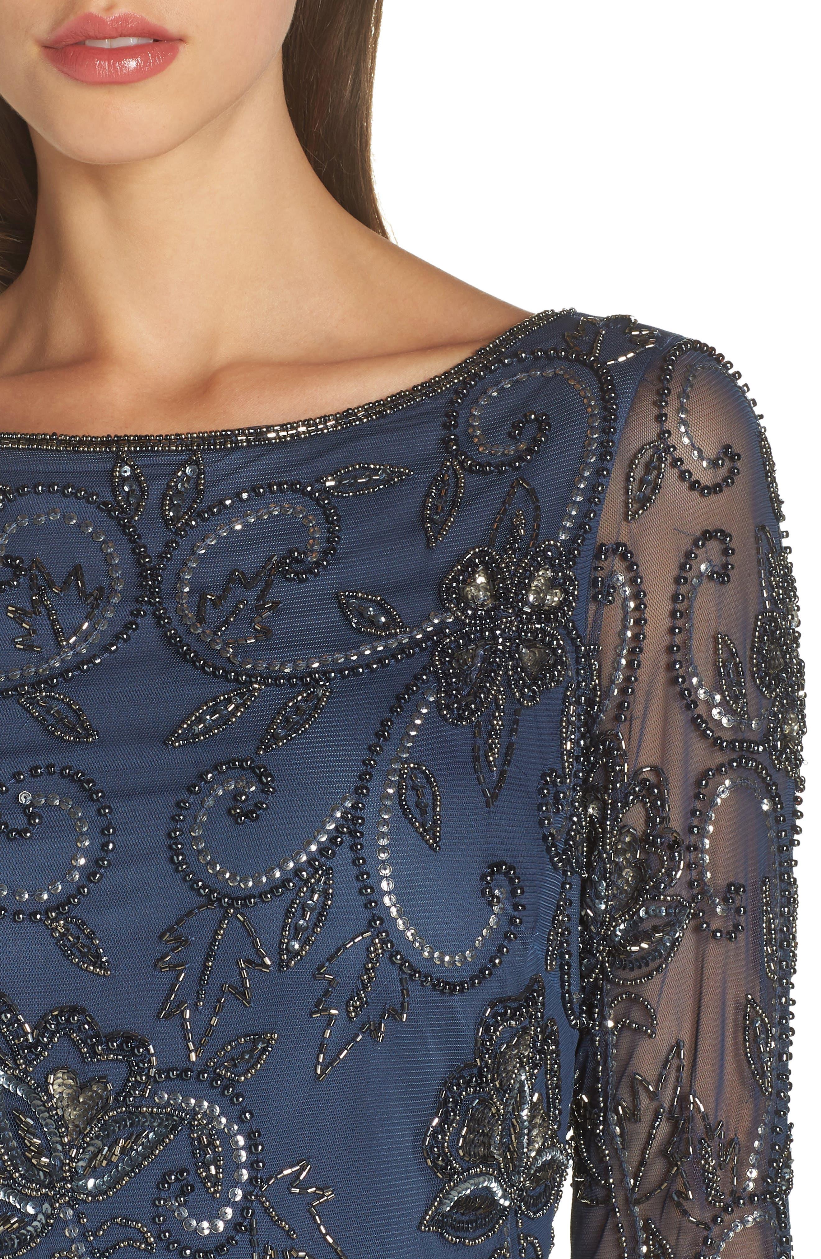 PISARRO NIGHTS, Embellished Mesh Sheath Dress, Alternate thumbnail 5, color, BLUE