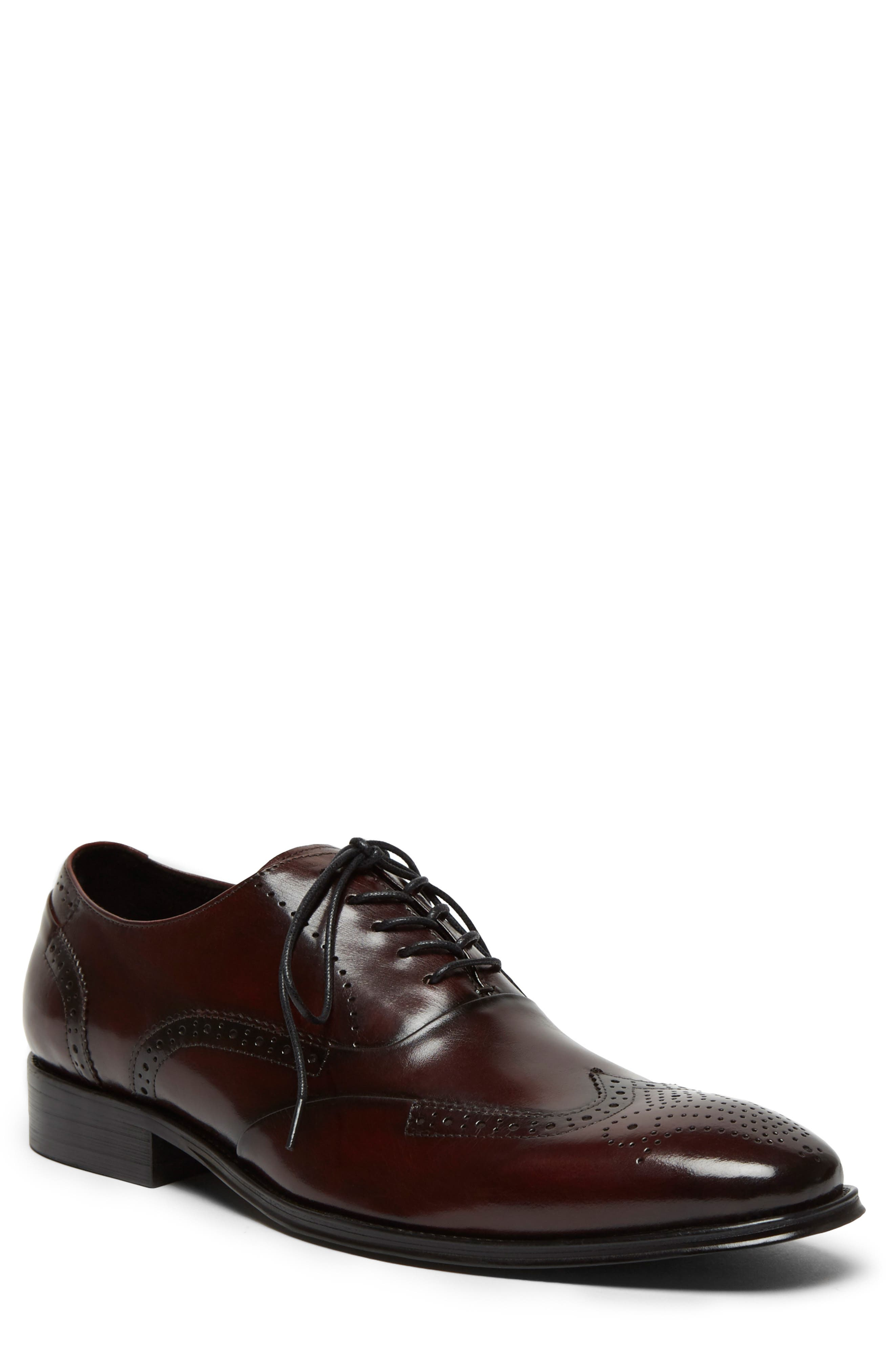KENNETH COLE NEW YORK, Brant Wingtip, Alternate thumbnail 4, color, BORDEAUX LEATHER