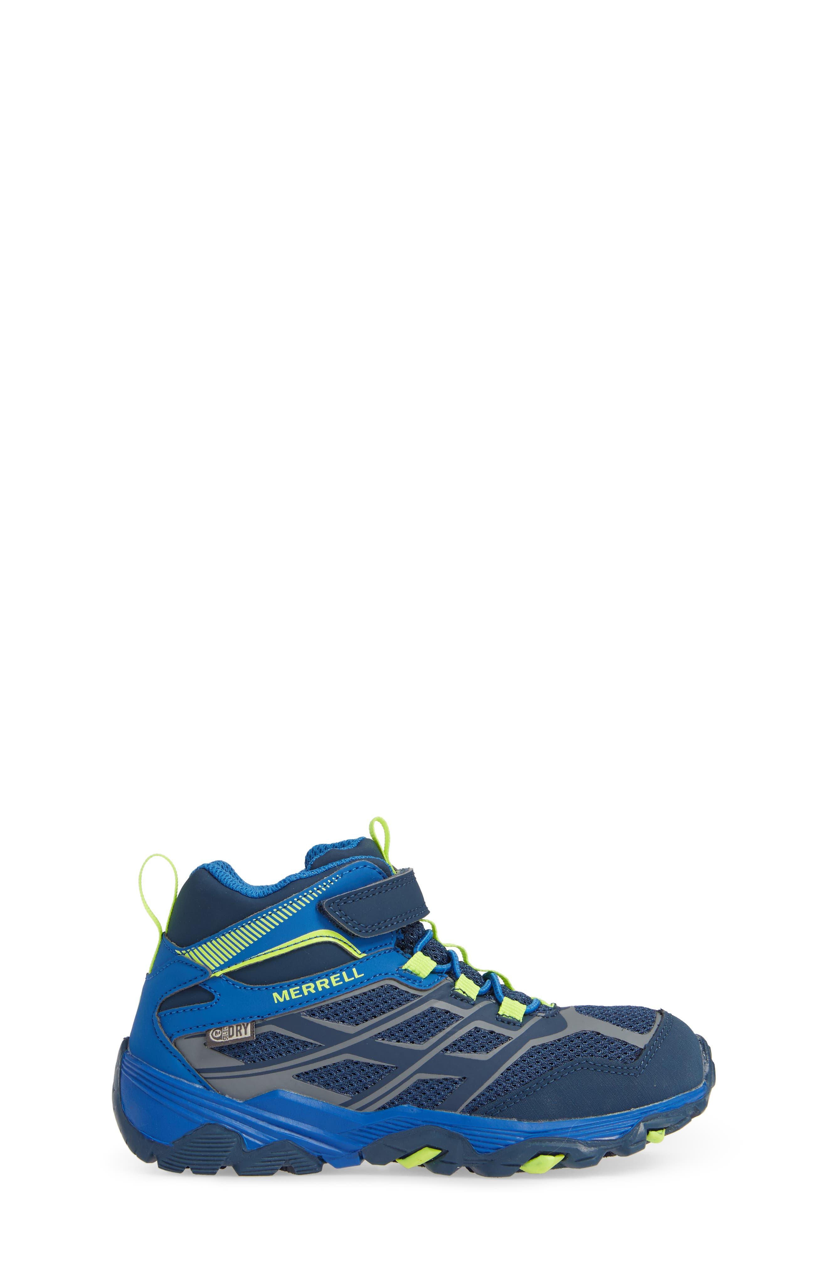 MERRELL, Moab FST Mid Top Waterproof Sneaker Boot, Alternate thumbnail 3, color, NAVY/ COBALT